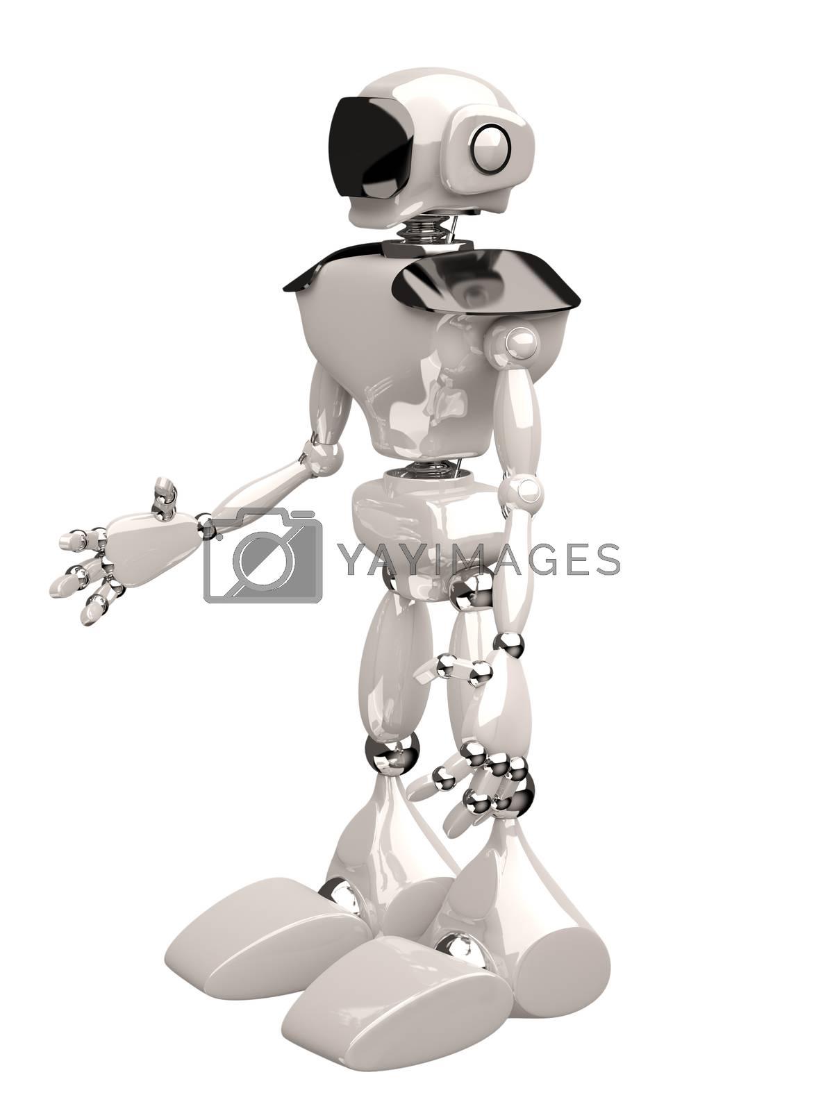 3d illustration of a white robot on white background