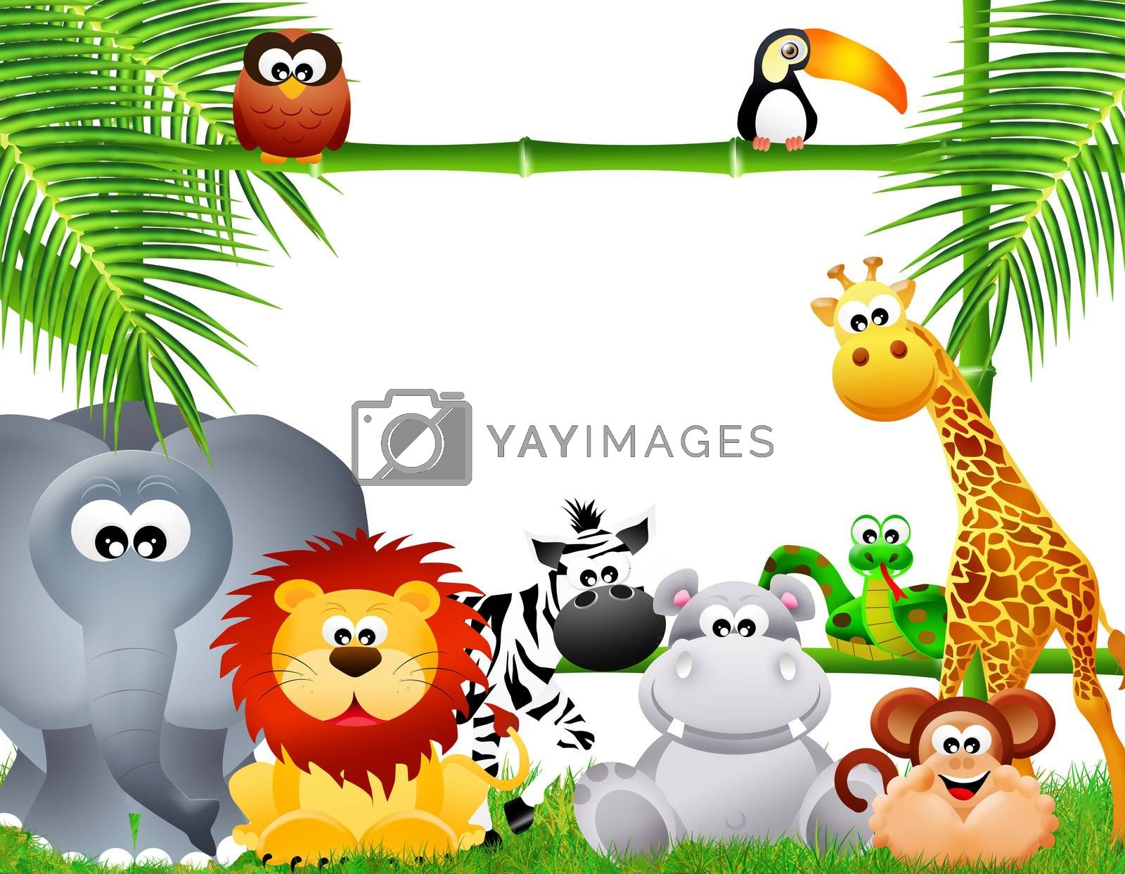 wild animals with frame bamboo