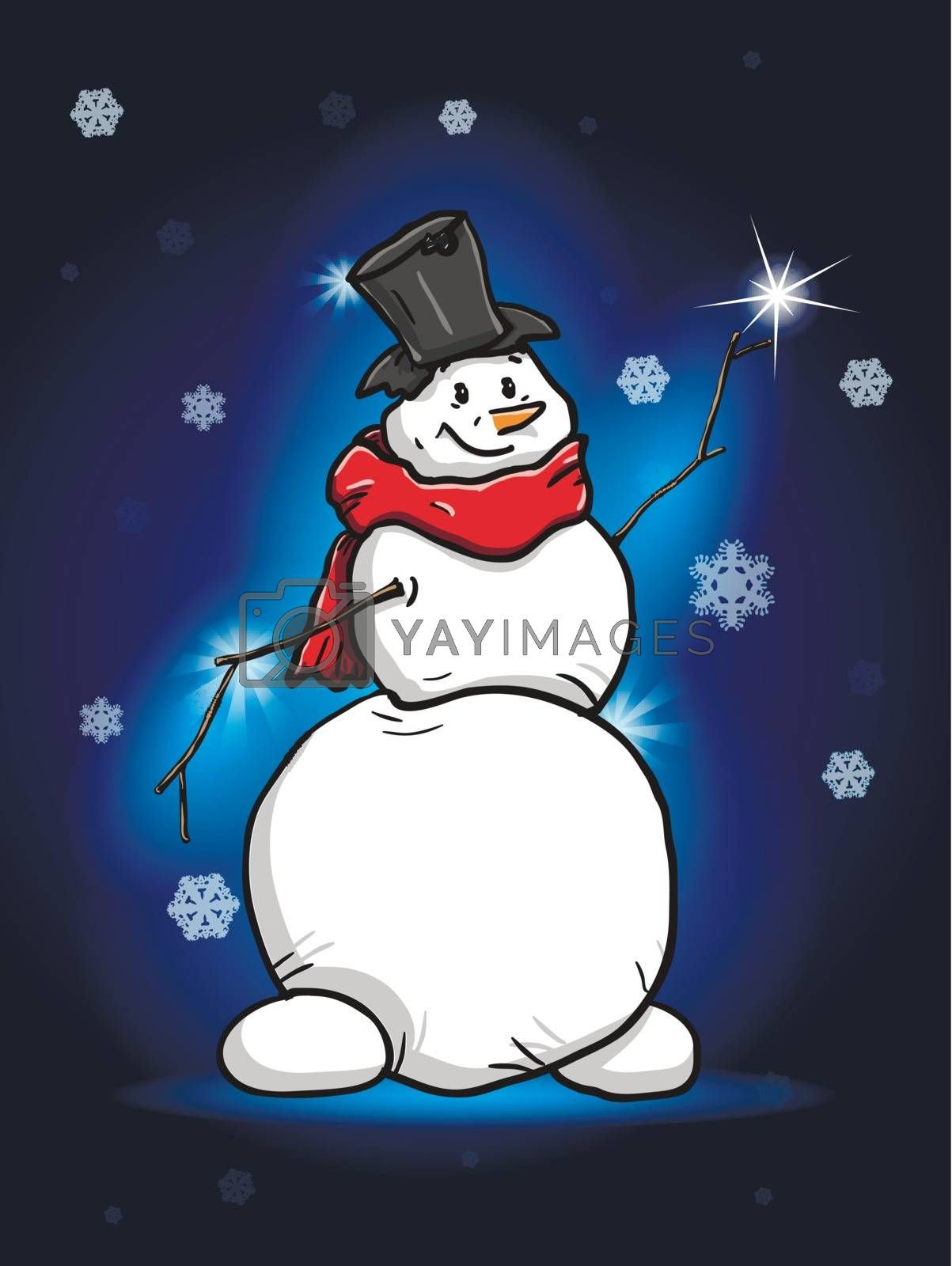 illustration snowman with star on background night sky