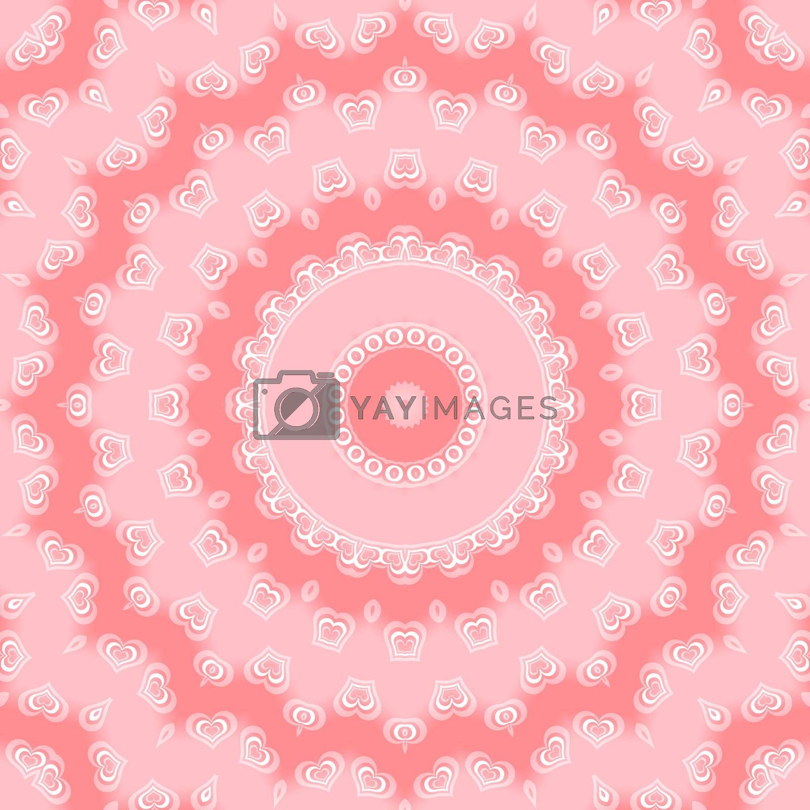 Pink background with abstract shapes and hearts