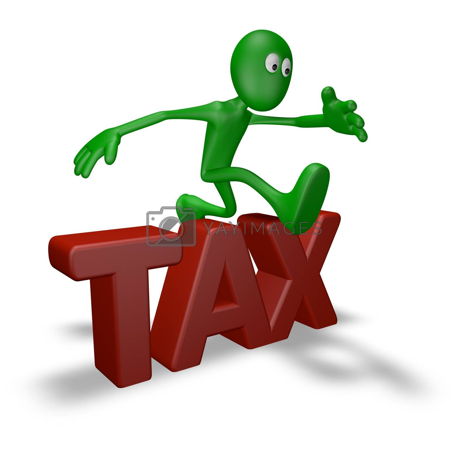 cartoon guy jumps over the word tax - 3d illustration