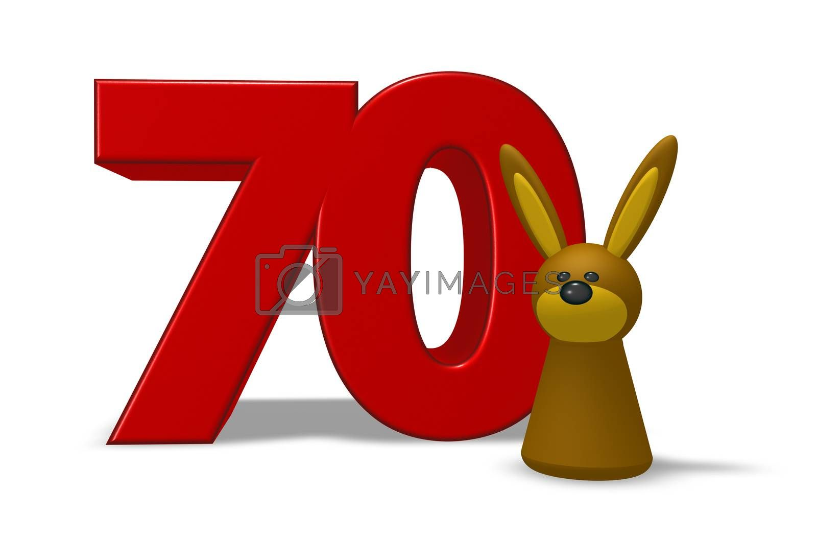 number seventy and rabbit - 3d illustration