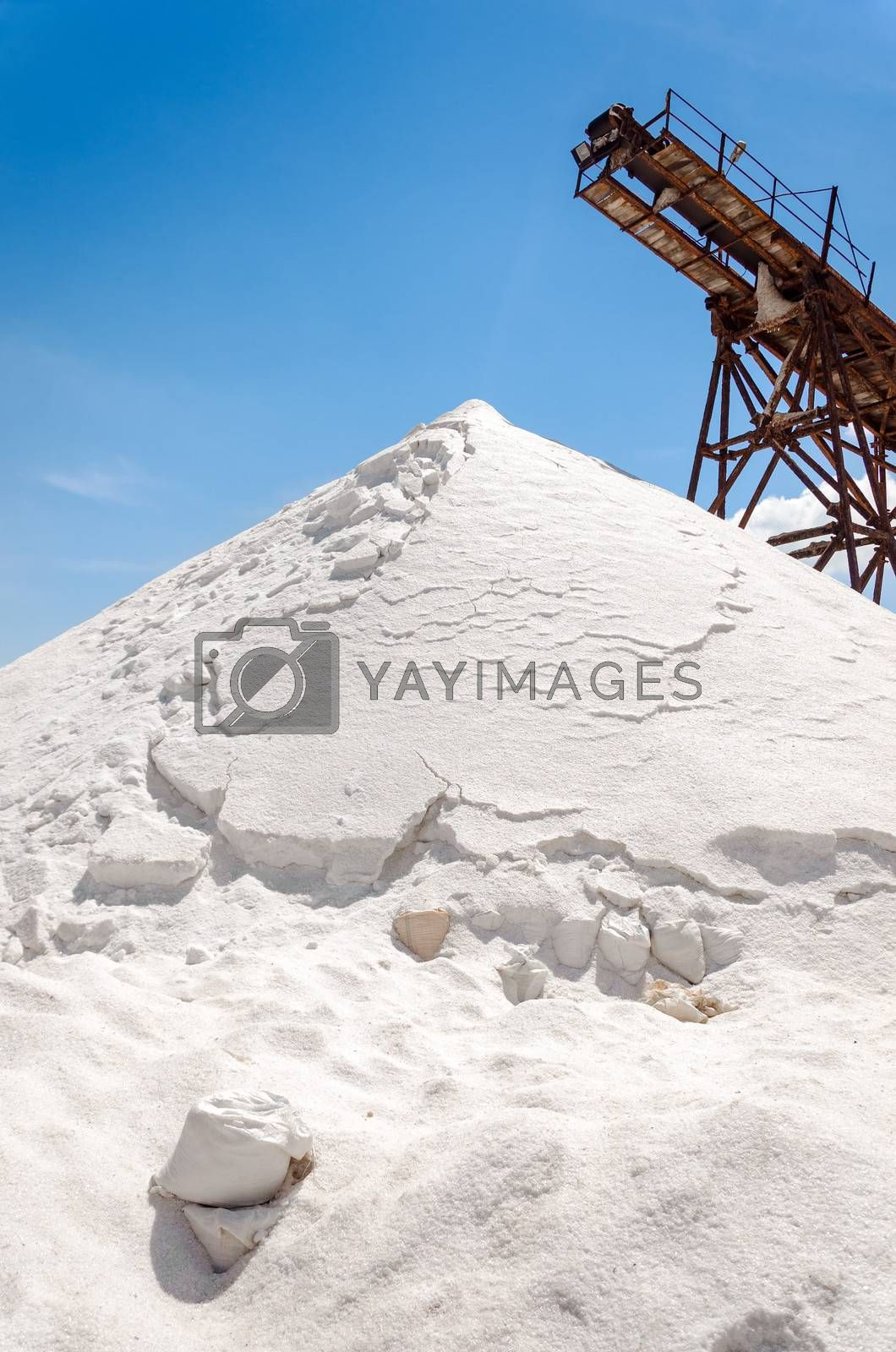 Mountain of salt in a salt production facility in Manaure, Colombia