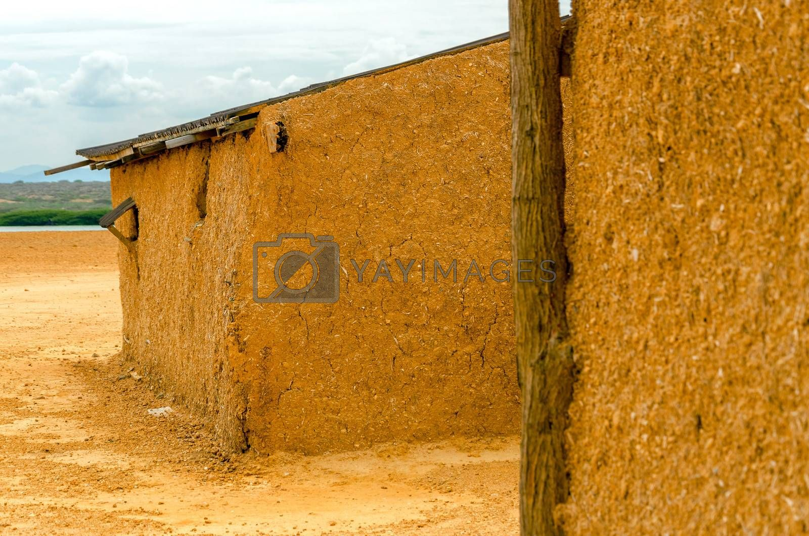 Mud shack in a desert region in La Guajira, Colombia