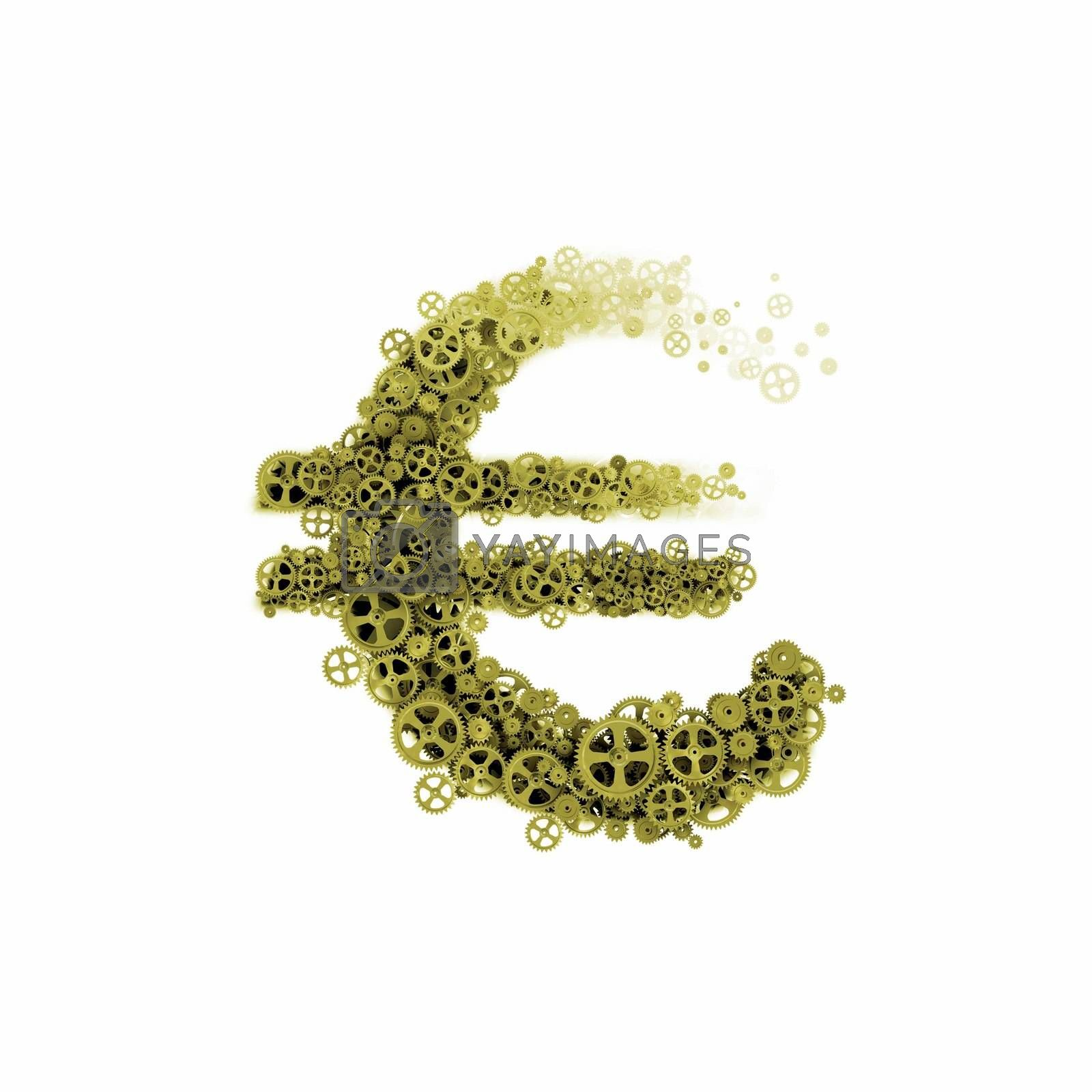 Image of euro symbol made of gears and cogwheels