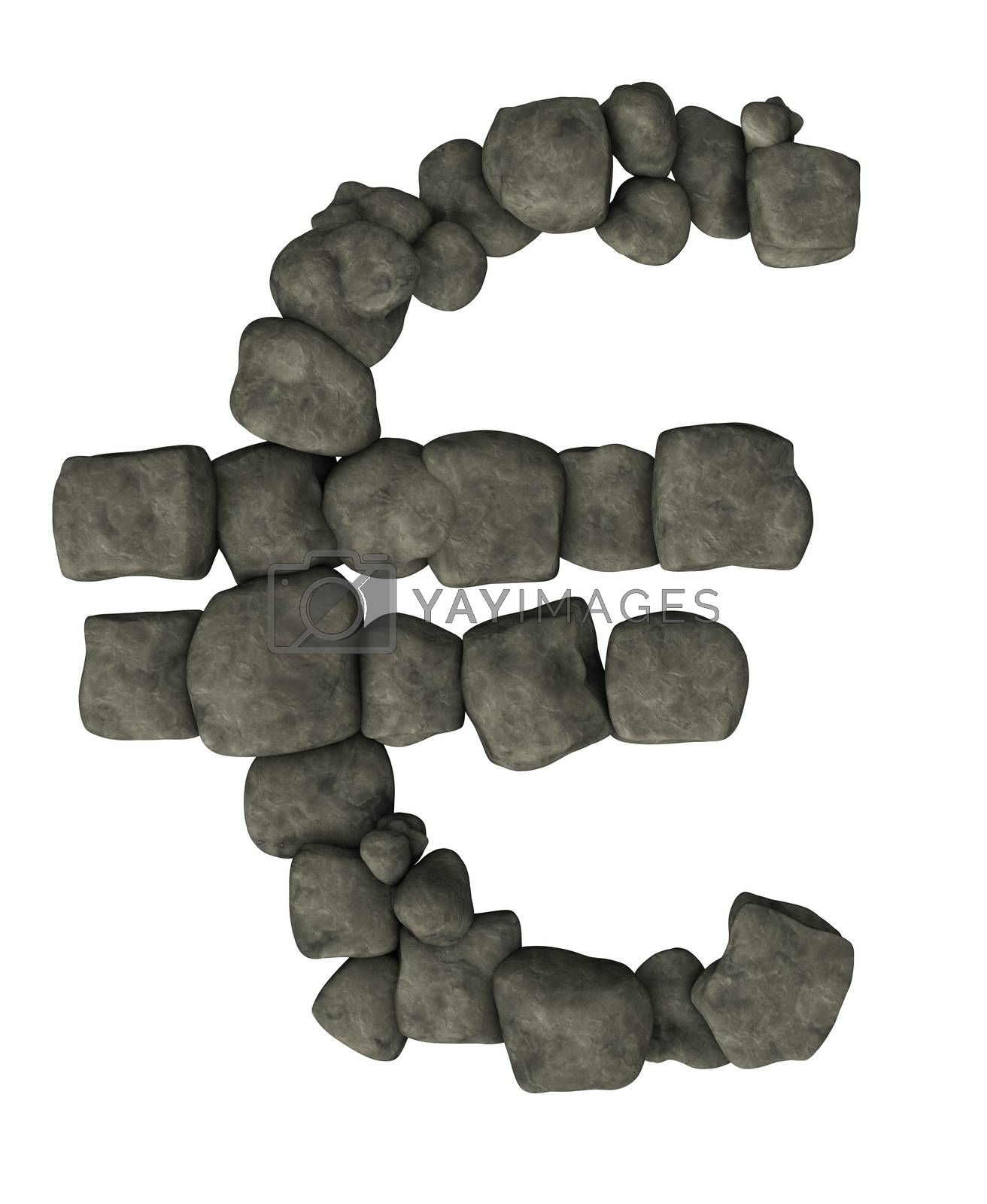 euro symbol made from pebbles on white background - 3d illustration