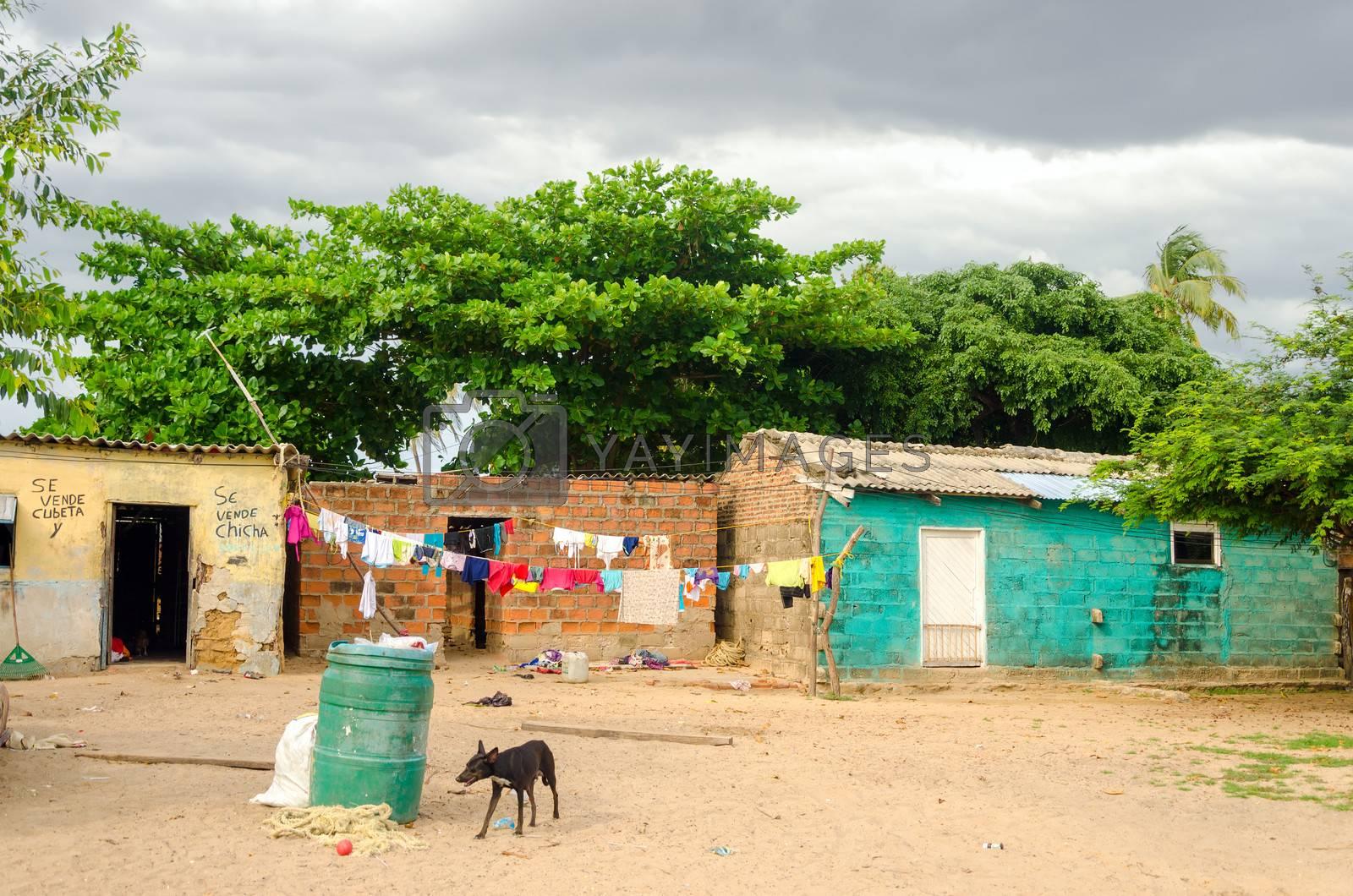 Small and poor shacks in La Guajira, Colombia
