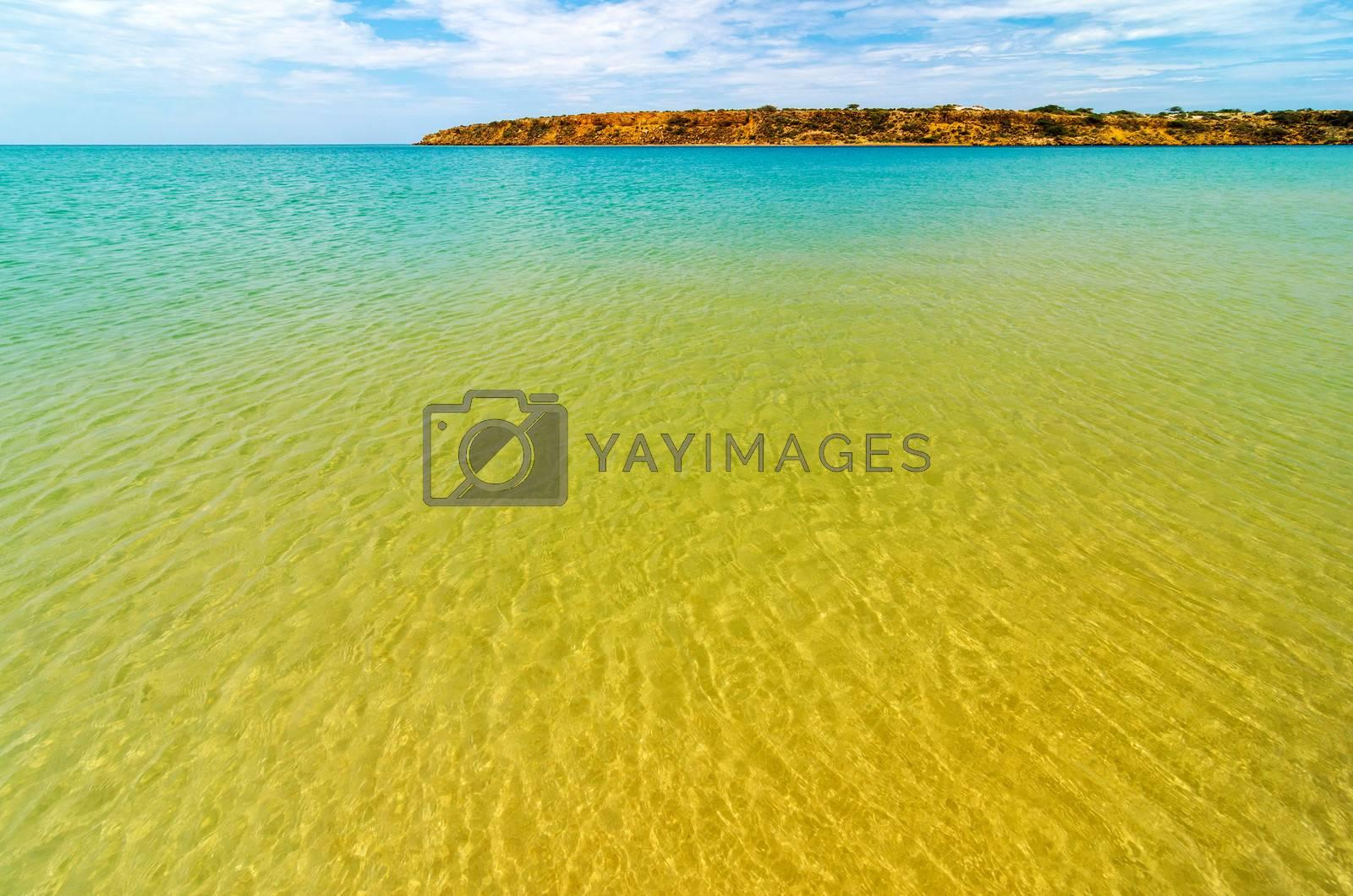 Clear Caribbean water in La Guajira, Colombia