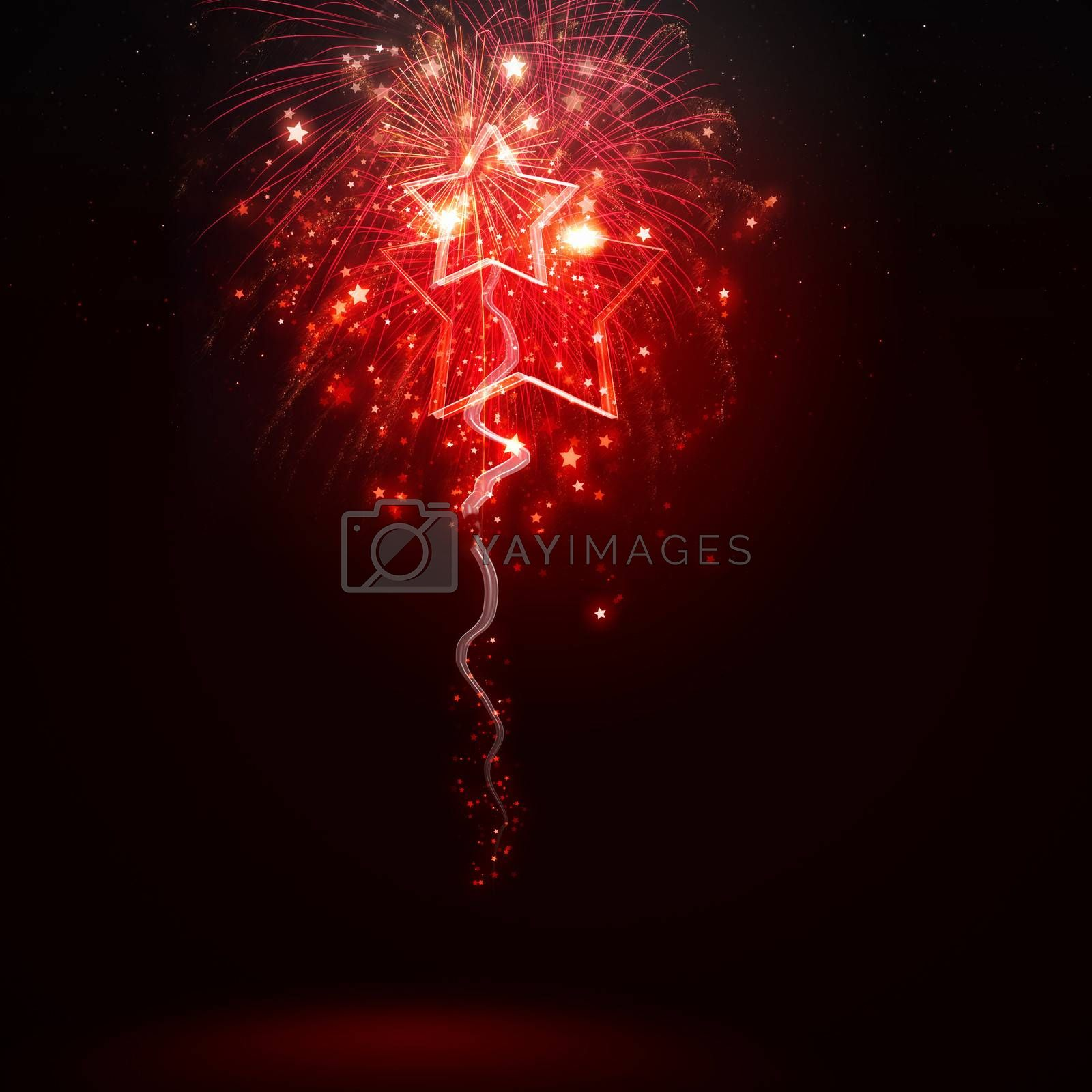 Background image with red fireworks against dark background