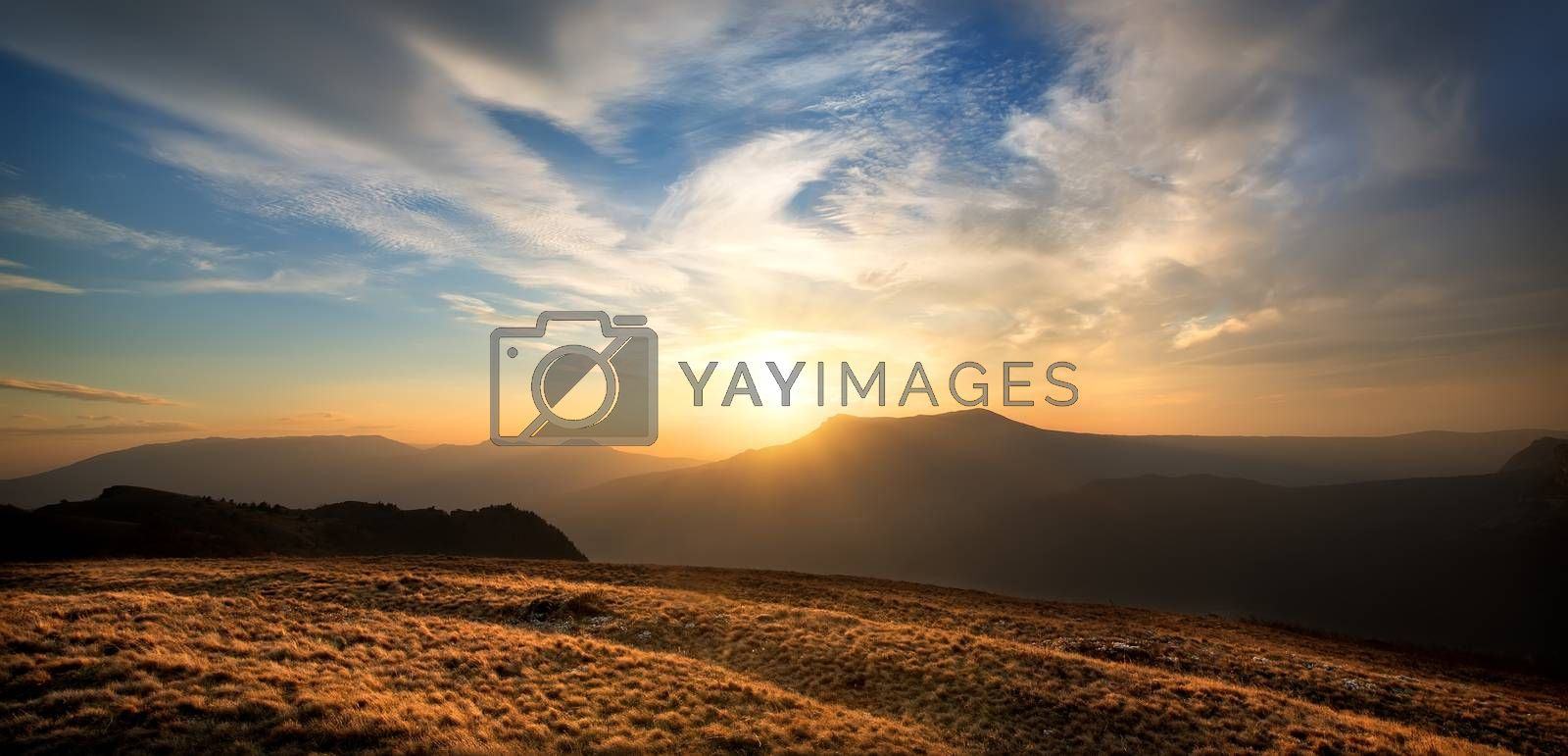 Sunset over the mountain Chatyrdag in Crimea