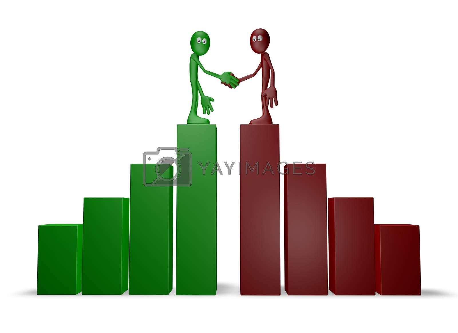 two cartoon guys shake hands on business graph - 3d illustration