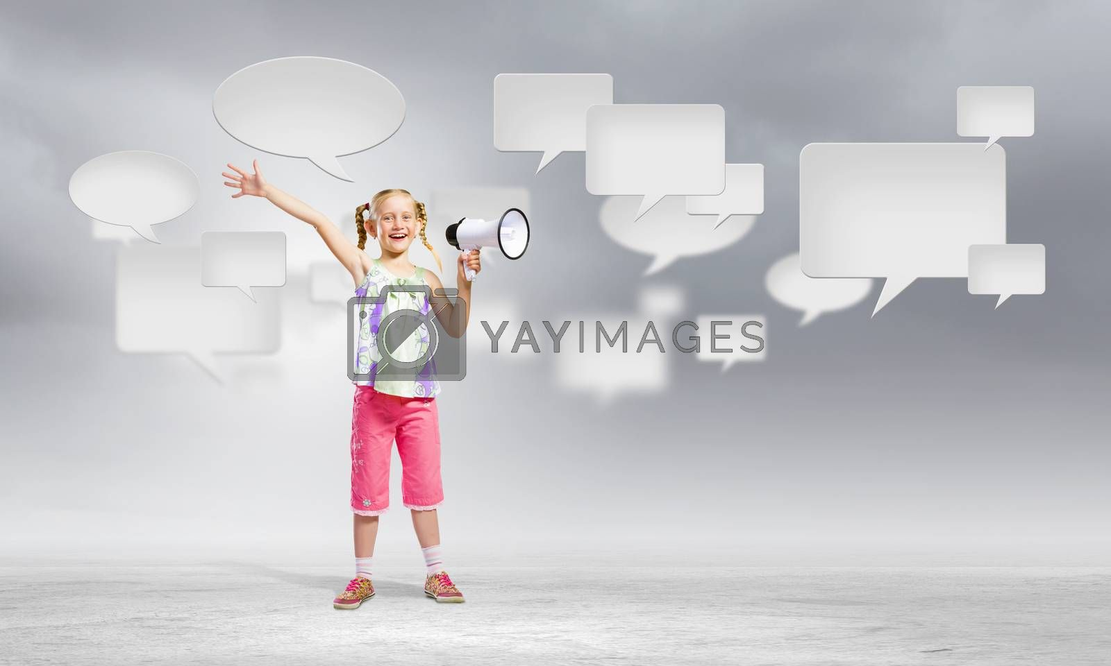 Royalty free image of Kid with megaphone by sergey_nivens