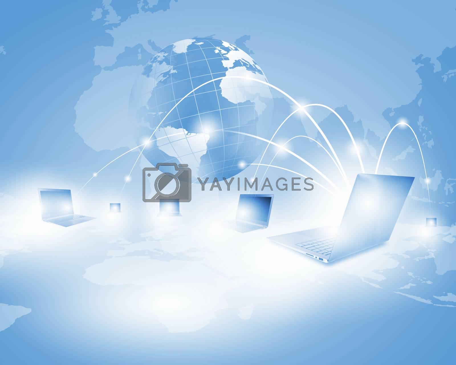 Image of laptop with globe illustration at background