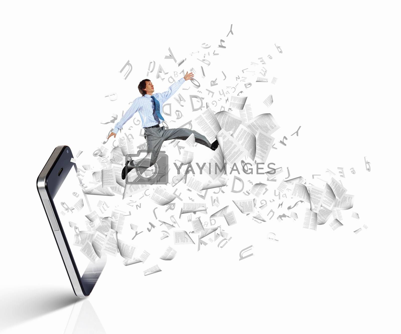 Image of businessman jumping out of mobile phone