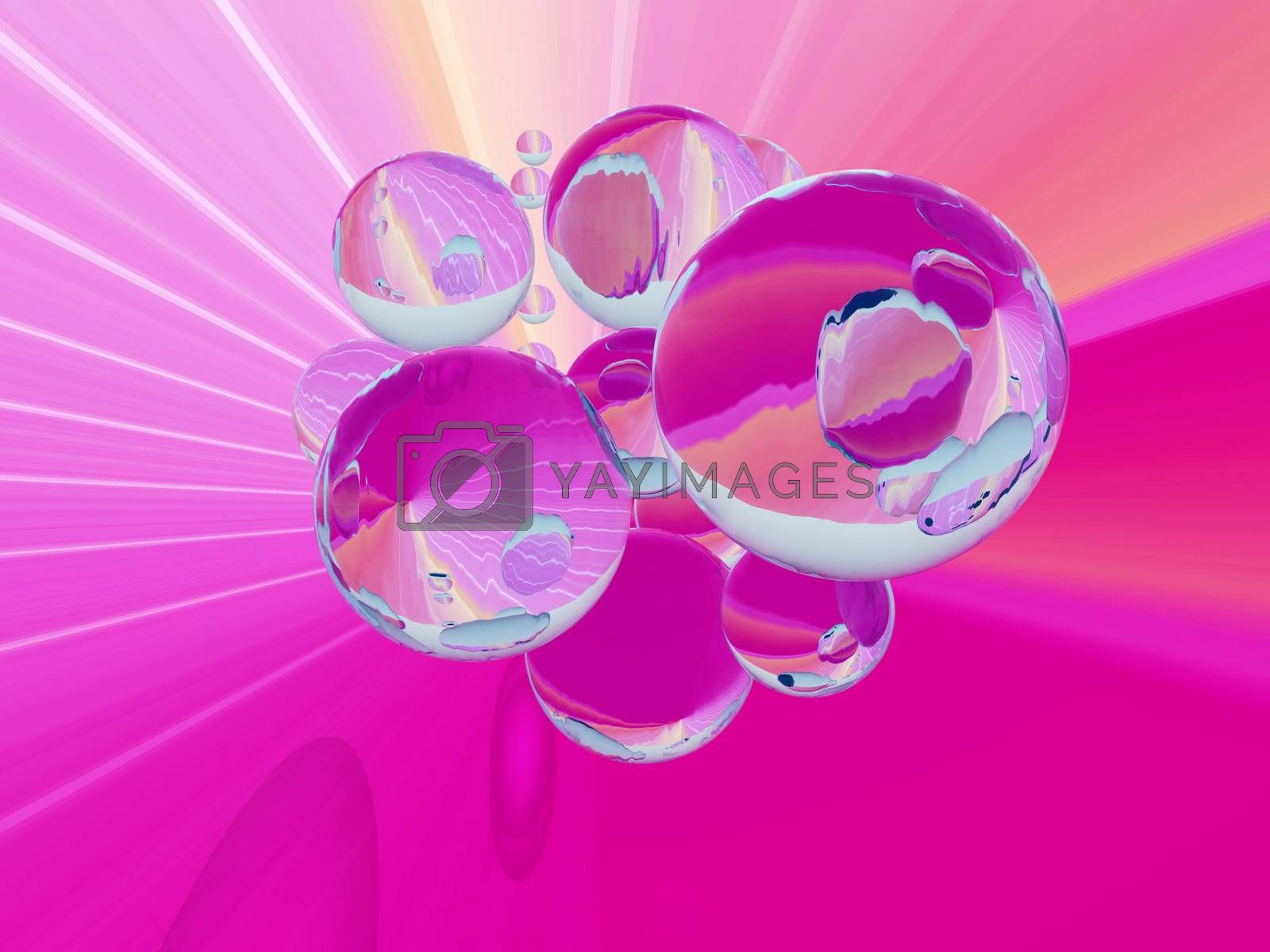 spychedelic illustration with transparent bubbles  in pink colors