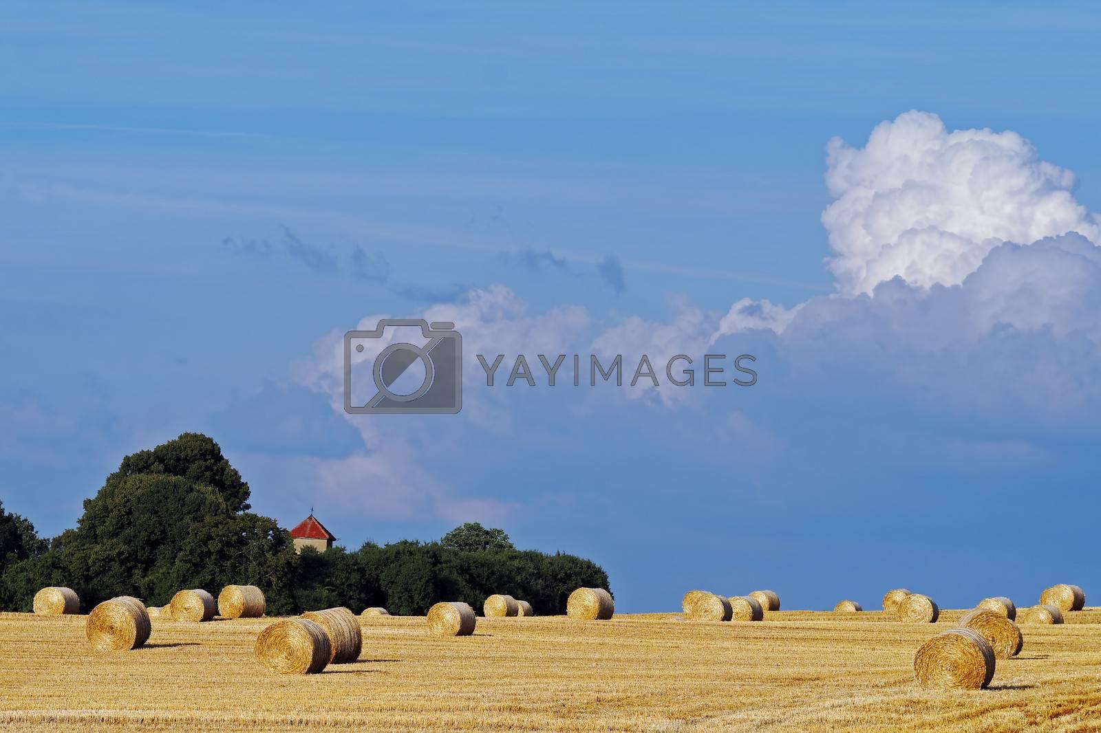 straw bales on stormy sky