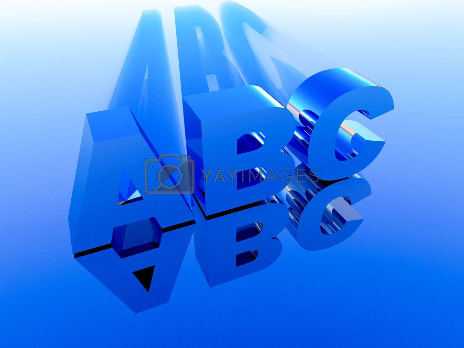 the letters ABC in 3 d