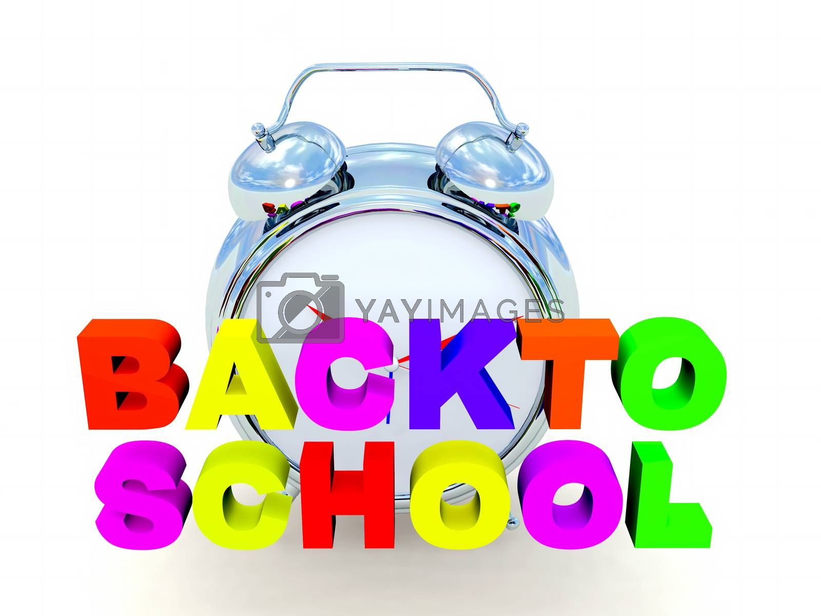 the word back to school in colored 3d letters,alarm clock in the background
