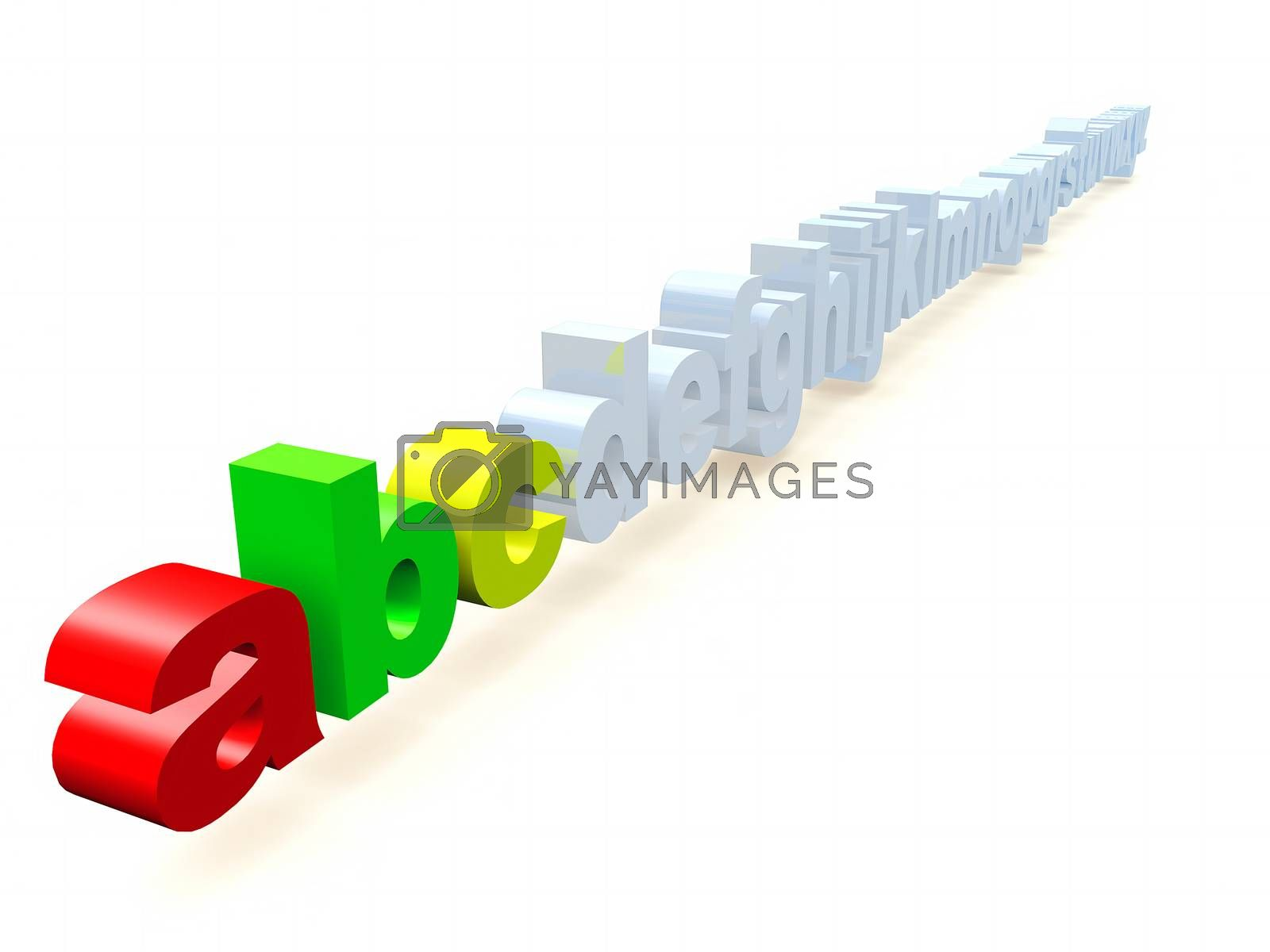 the letters abc in 3 d rendering