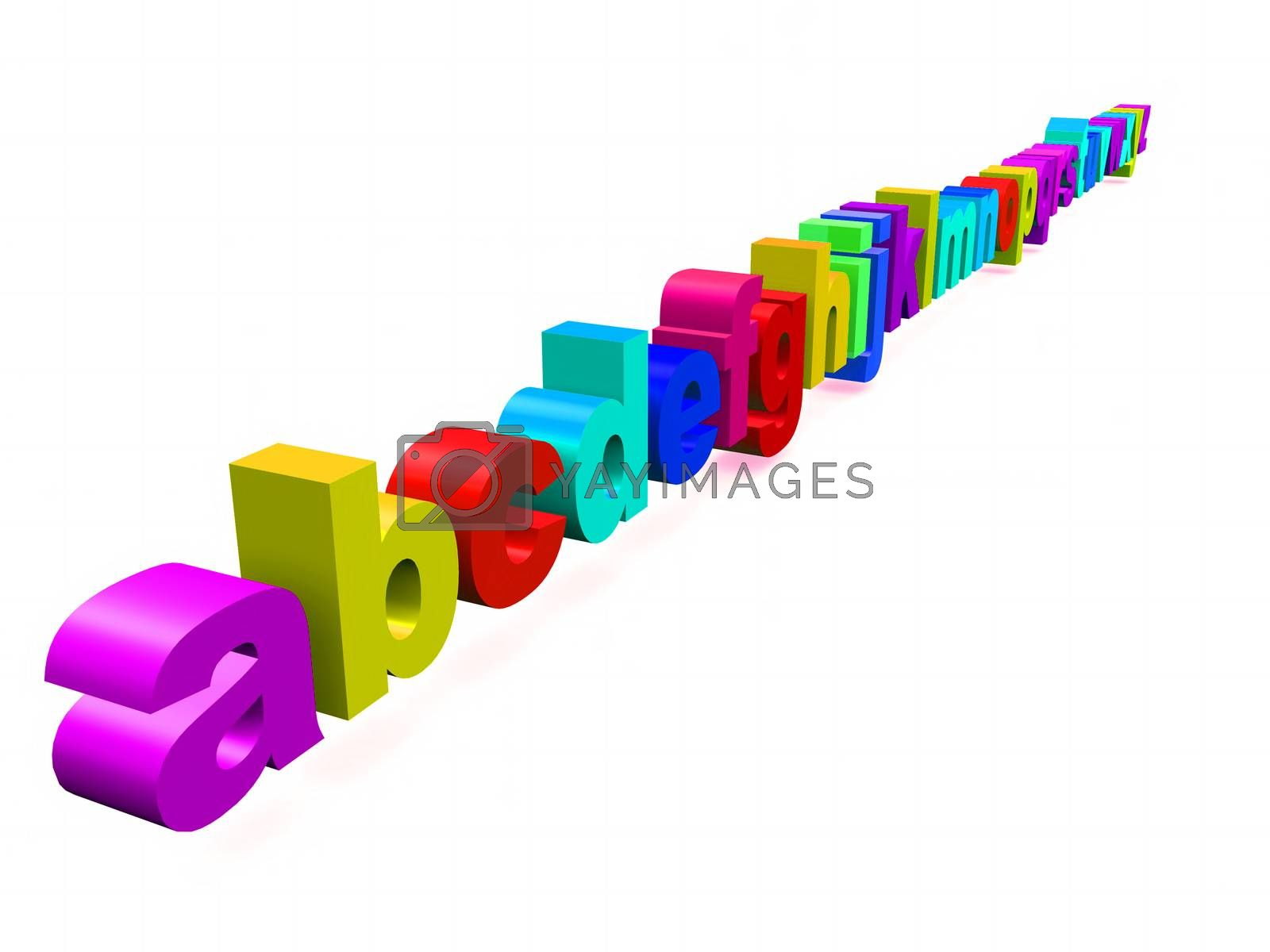 multicolored alphabet letters