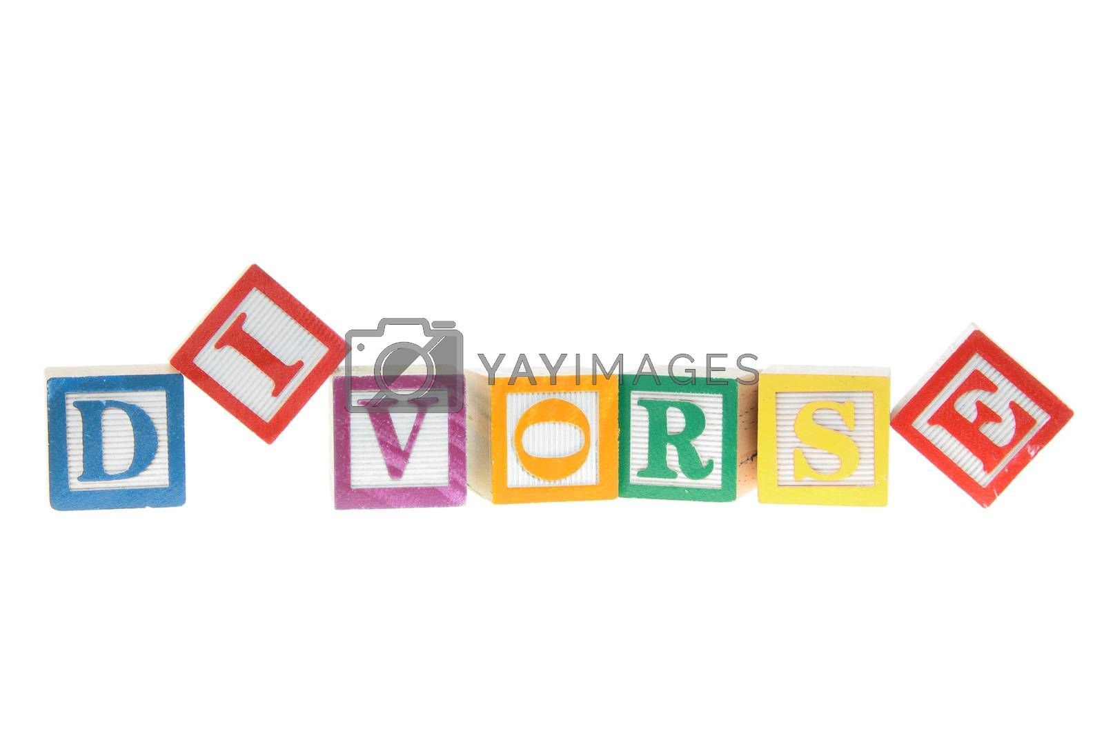 Letter blocks spelling divorse isolated on a white background
