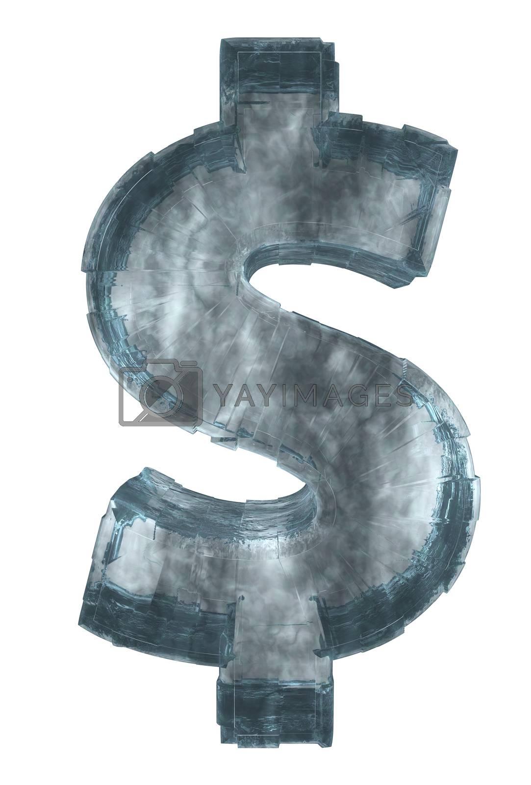ice dollar symbol on white background - 3d illustration