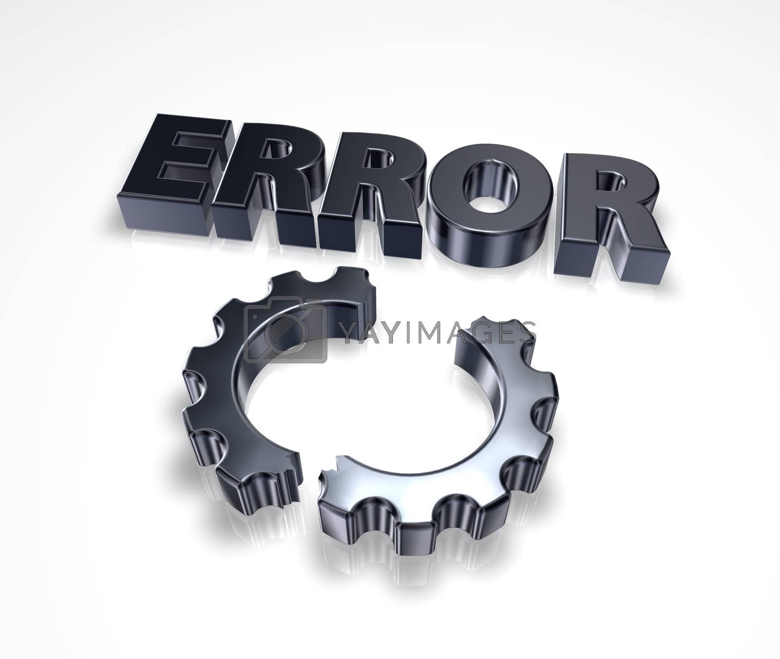 error message and broken cogwheel - 3d illustration