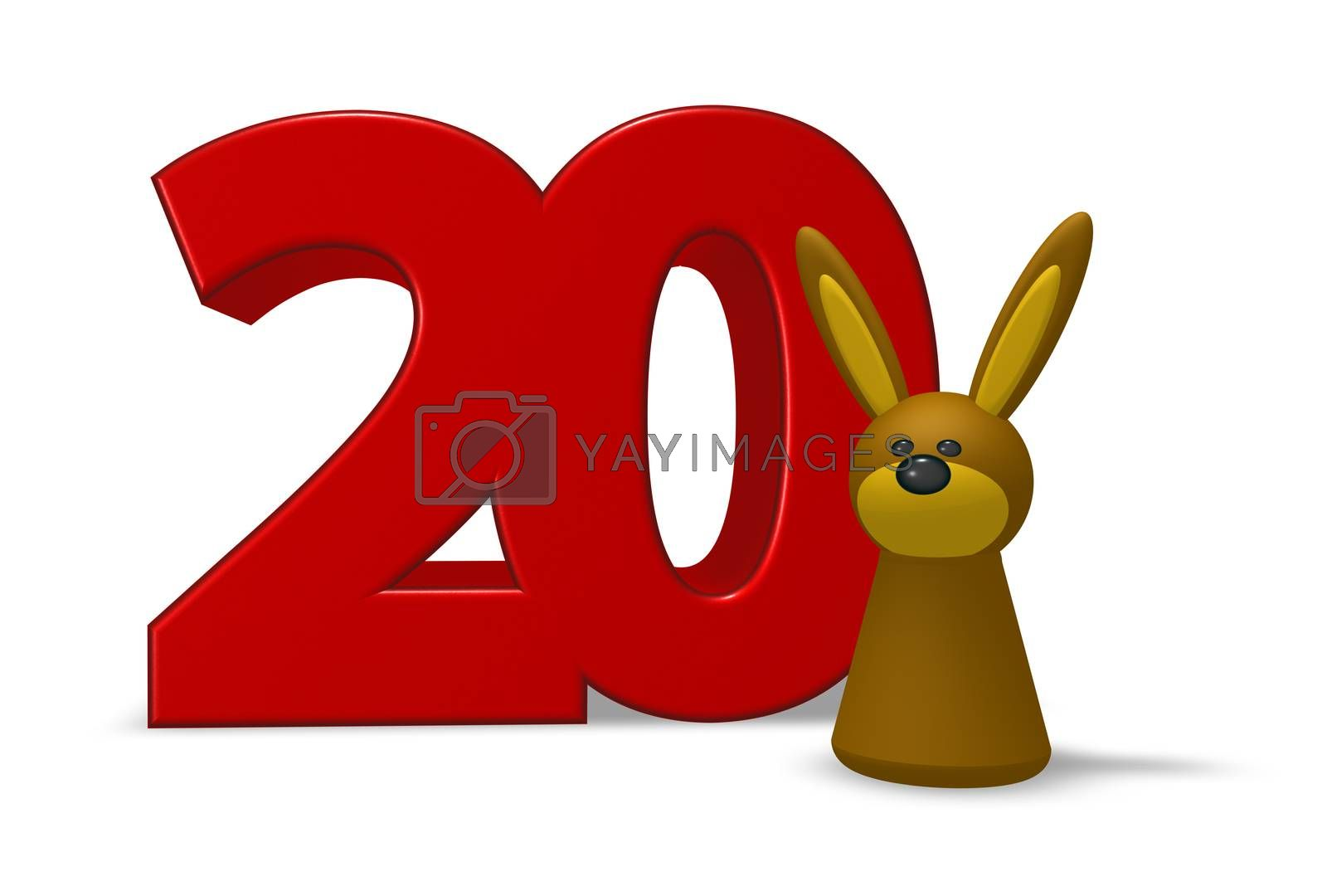 number twenty and rabbit - 3d illustration