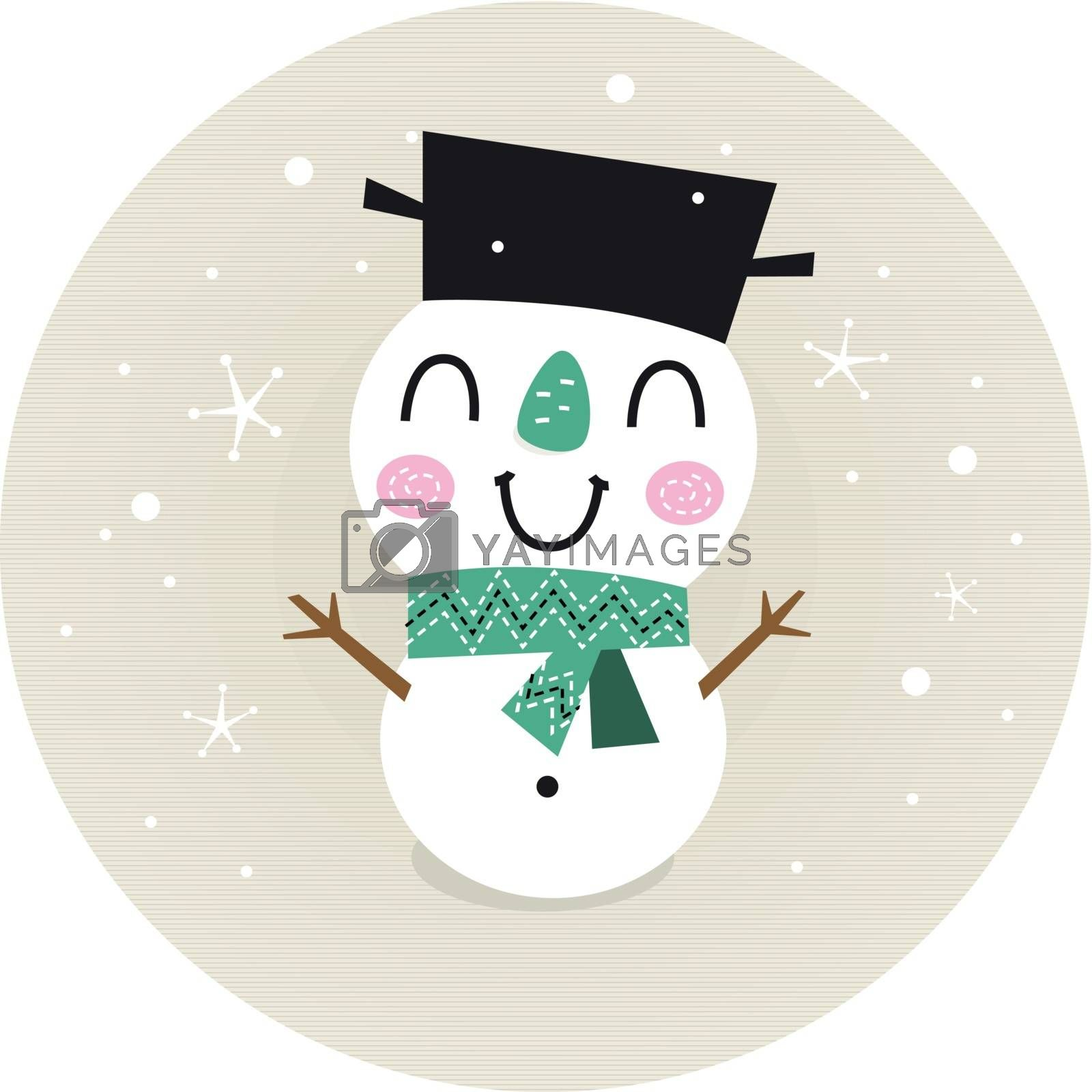 Vintage Snowman on snowing background. Vector cartoon Illustration