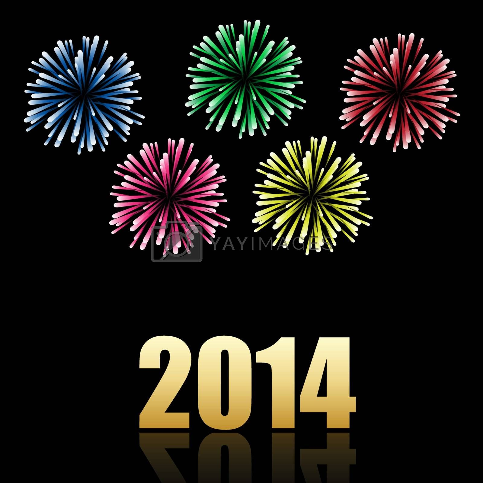 2014 new year celebration with colorful fireworks