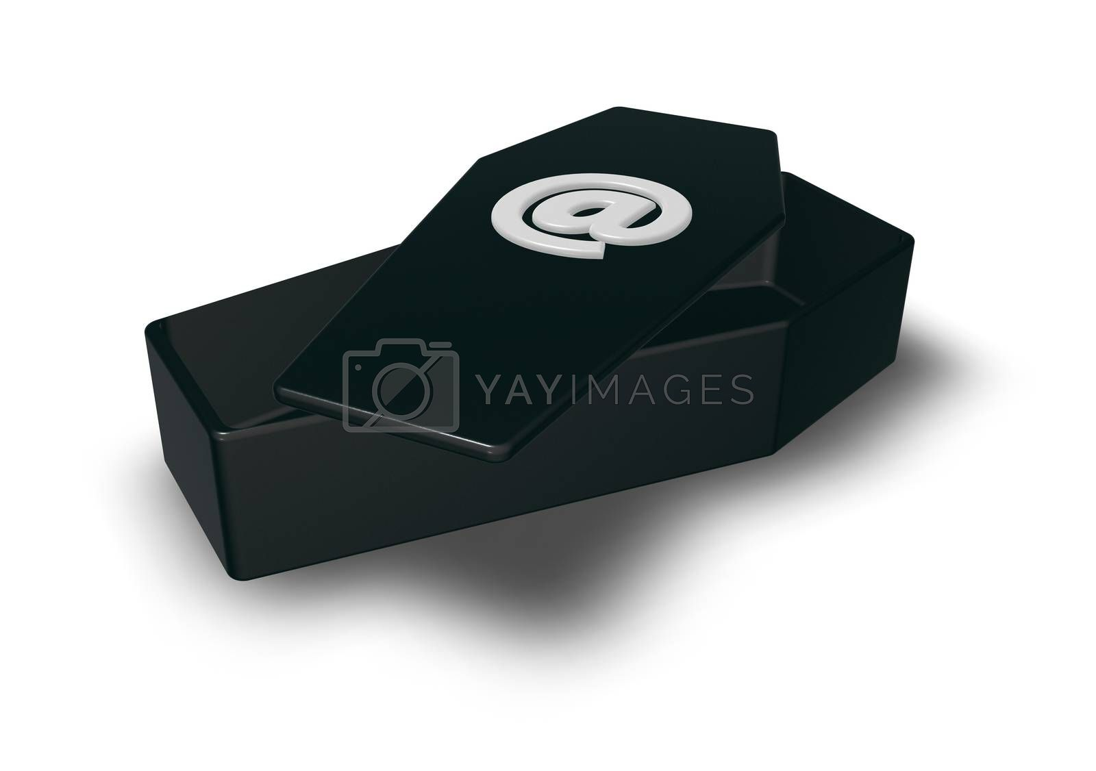 coffin with email symbol - 3d illustration