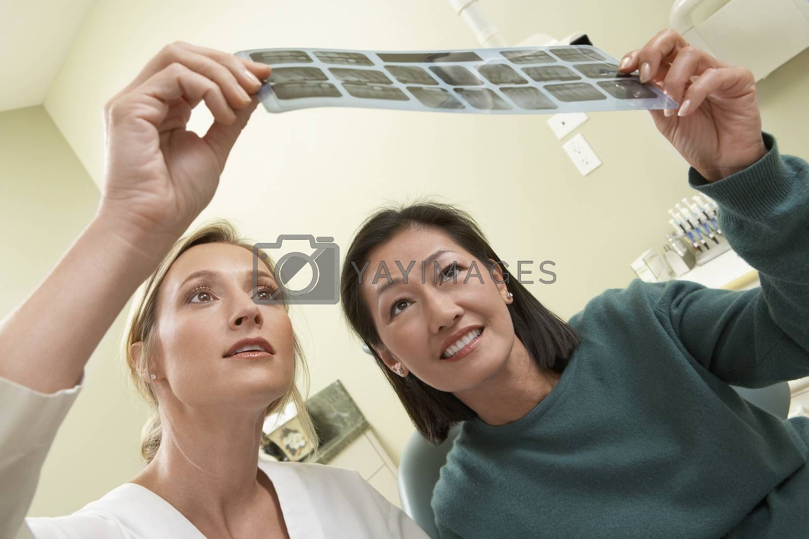 Dentist And patient Examining X-Ray