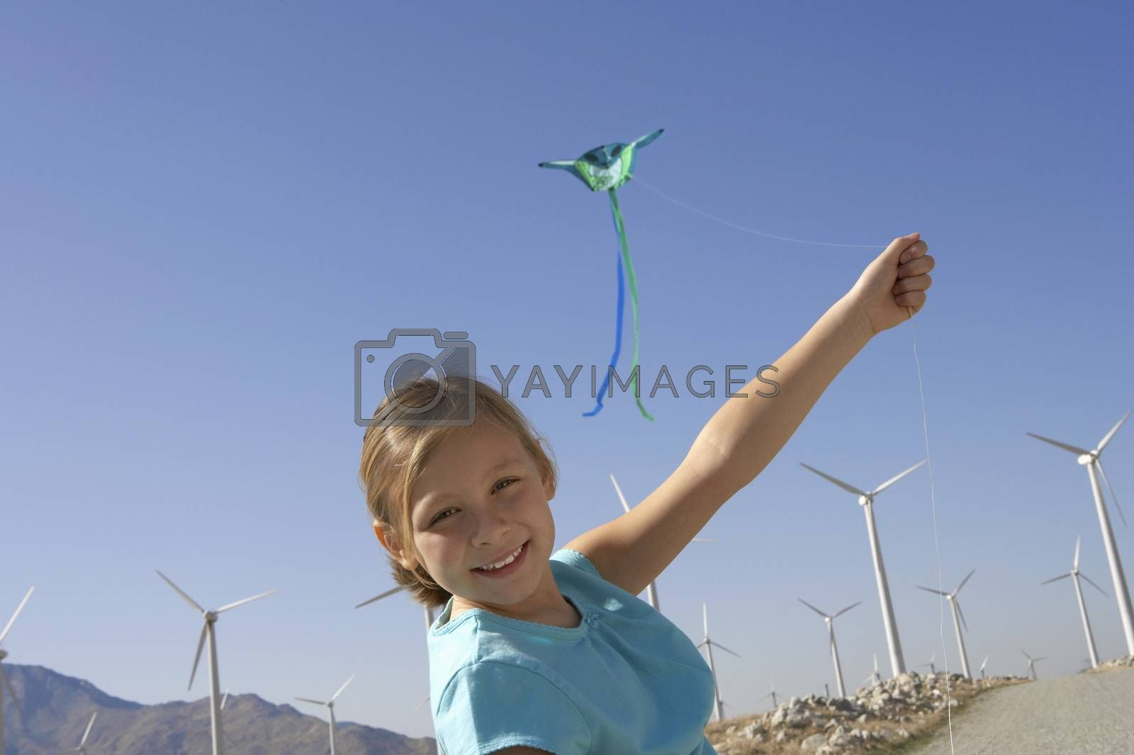 Girl With A Kite At Windmill Farm