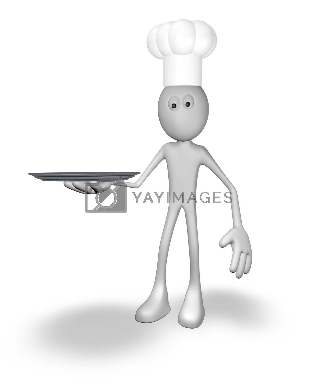 cartoon cook with plate - 3d illustration