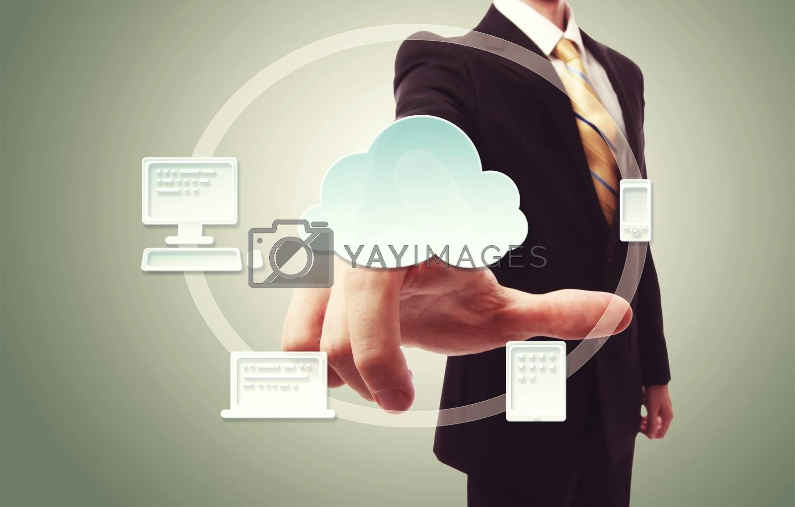 Royalty free image of Businessman pressing cloud icon by melpomene