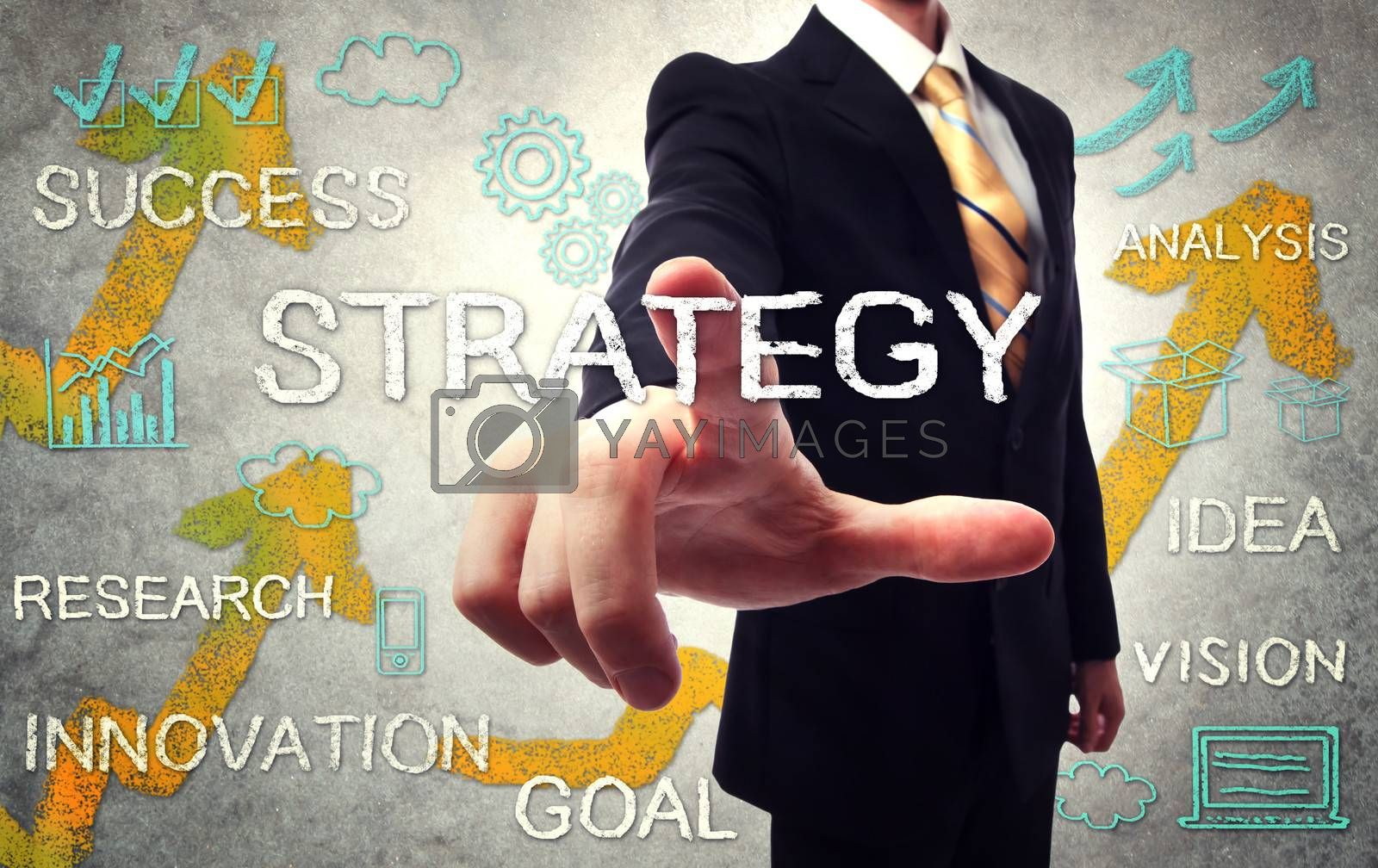 Royalty free image of Businessman pointing STRATEGY by melpomene