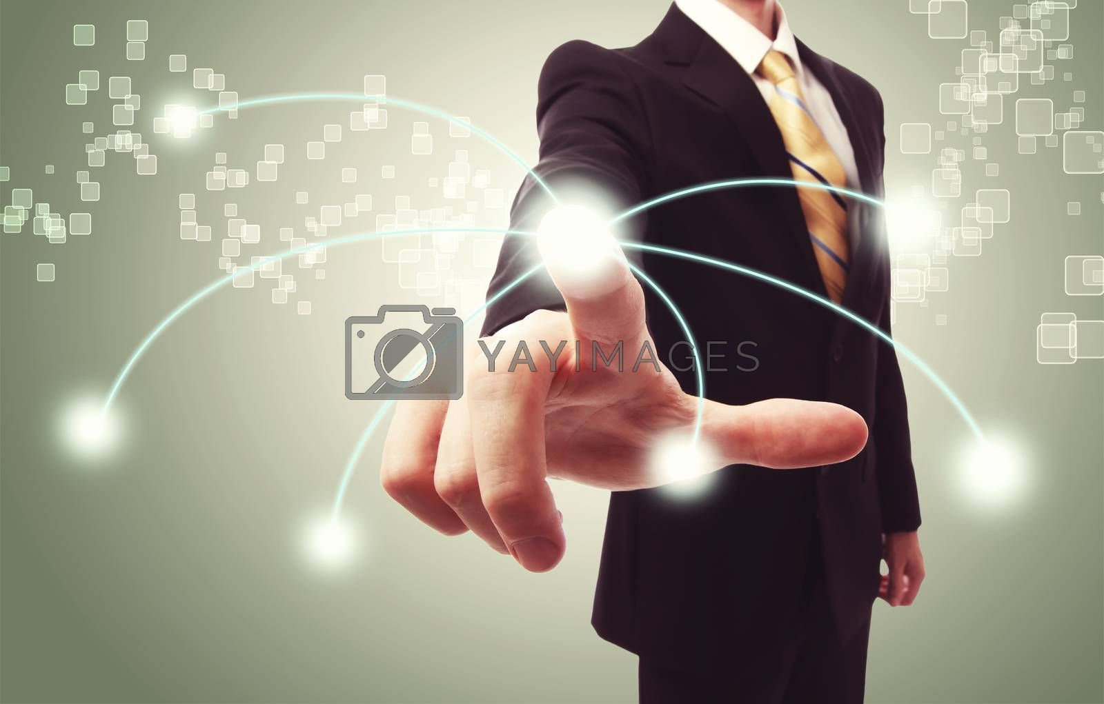 Royalty free image of Businessman pressing technology button by melpomene