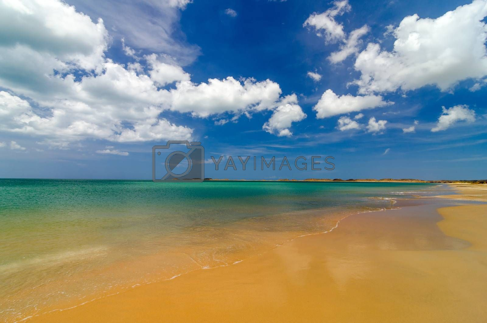 Caribbean beach with turquoise water in La Guajira, Colombia