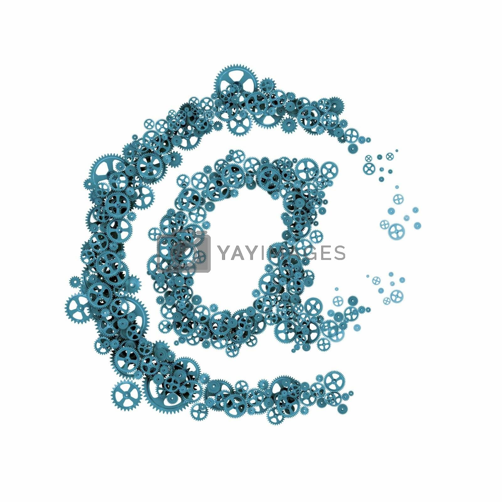 Email symbol of gears and cogwheels. Communication concept