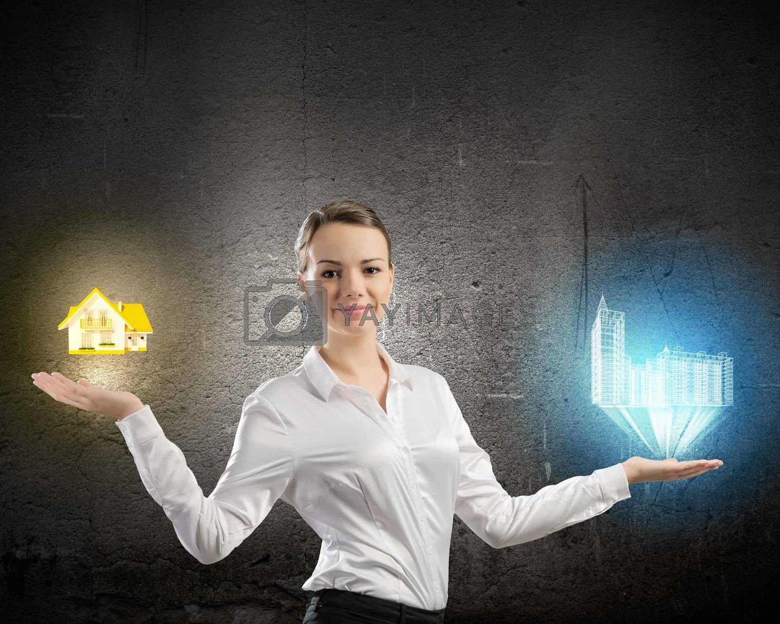 Image of businesswoman holding items on palm. Urban or country