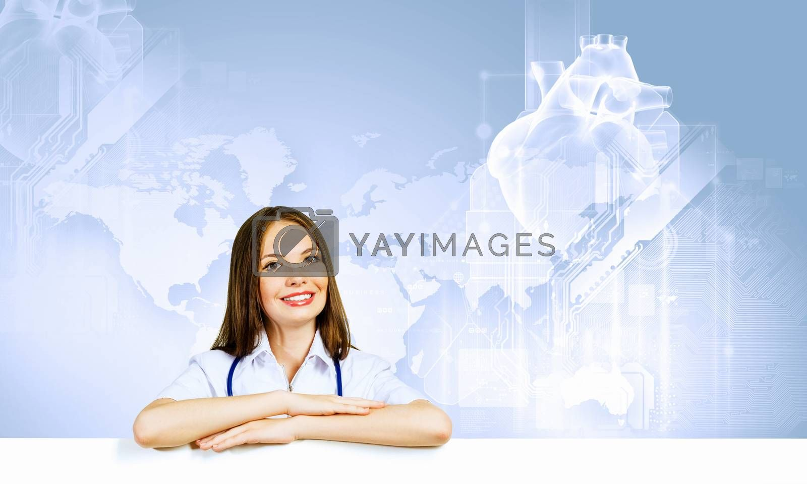 Royalty free image of Doctor with banner by sergey_nivens