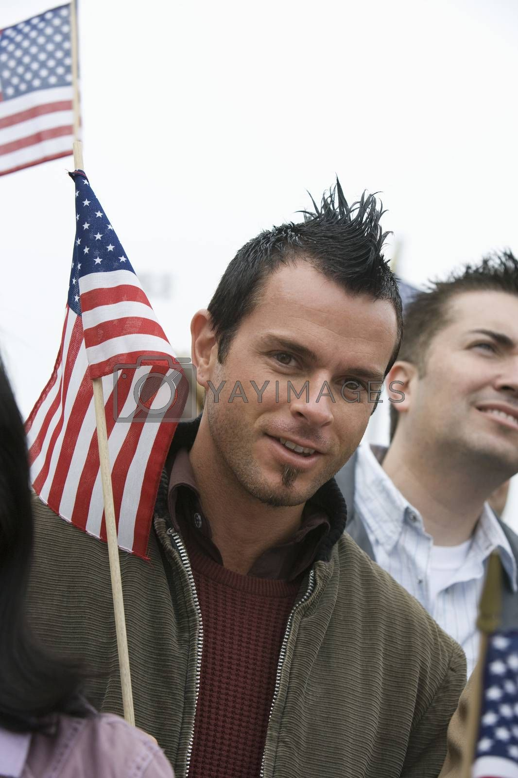 Young Man With American Flag