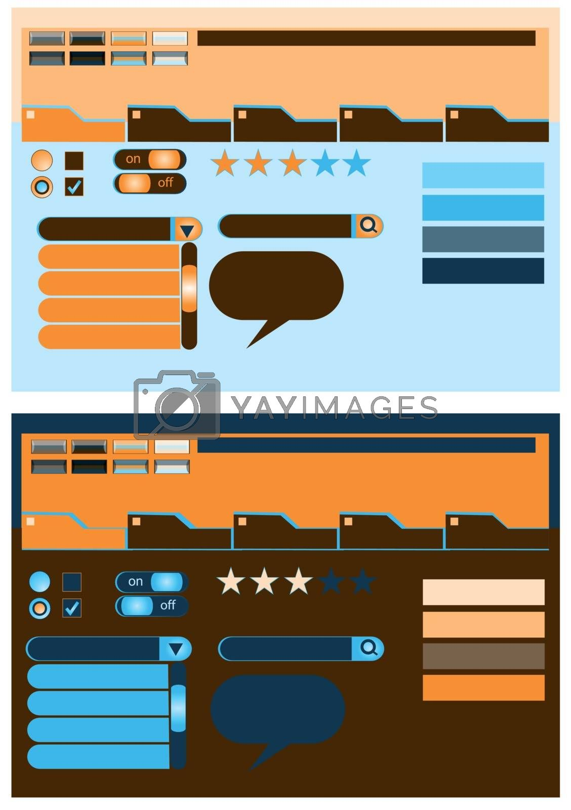 web design elements with selection of colors