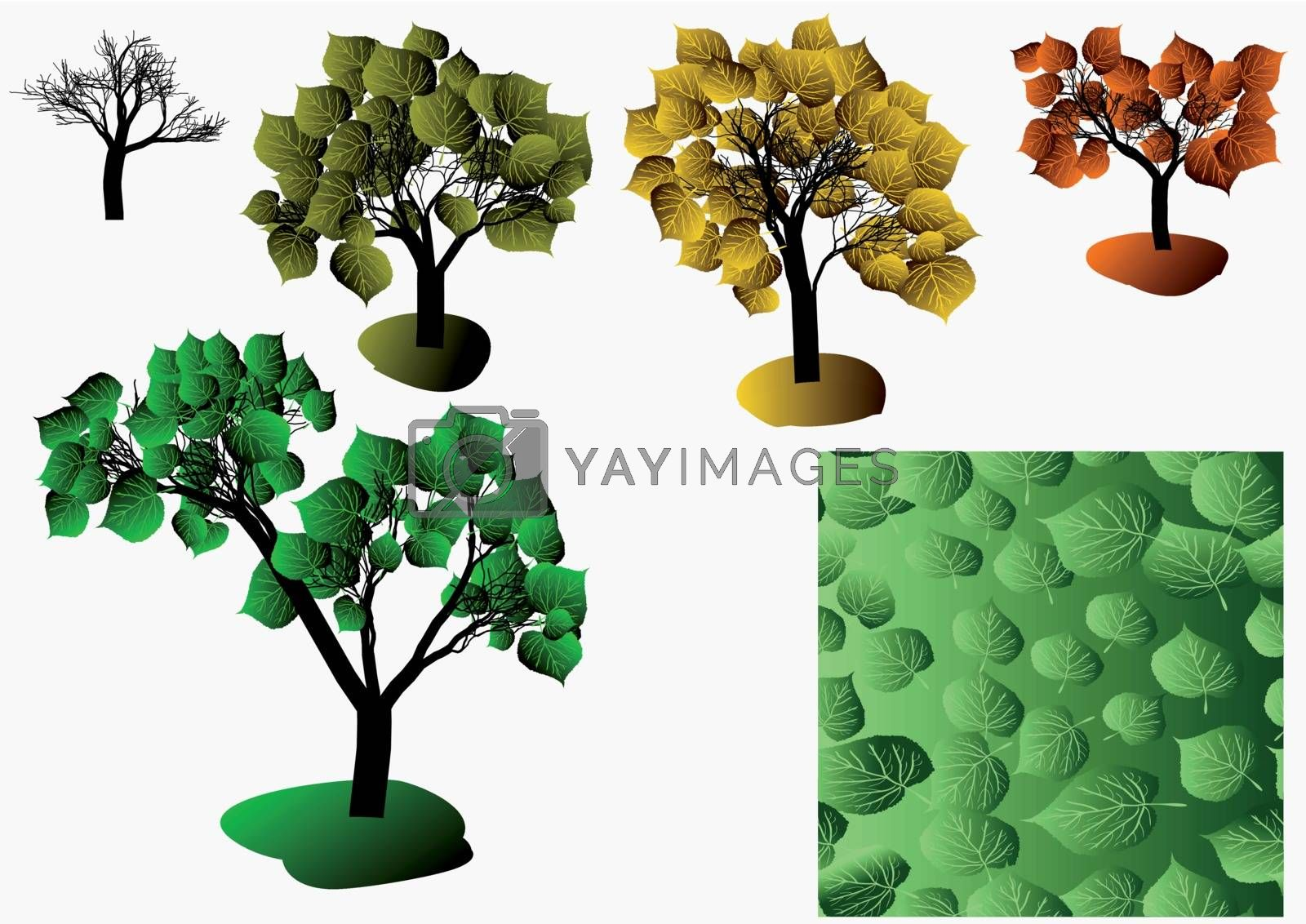 autumn trees and a seamless texture isolated on white