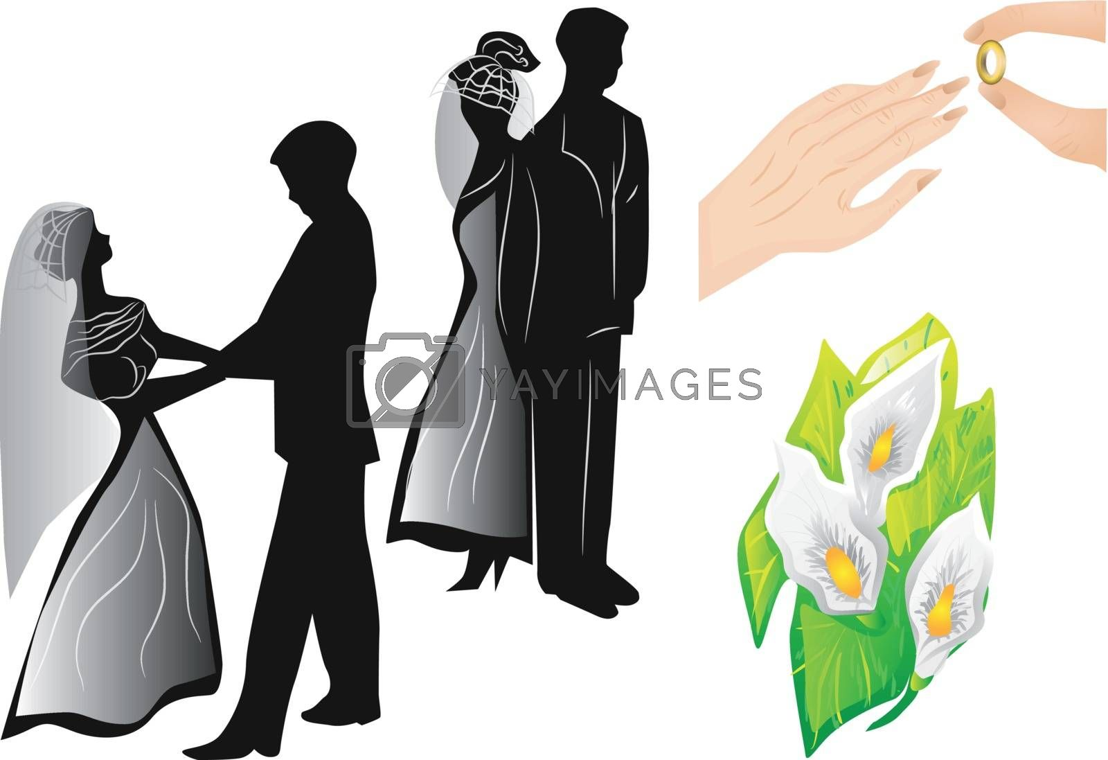 wedding silhouettes isolated on a white background