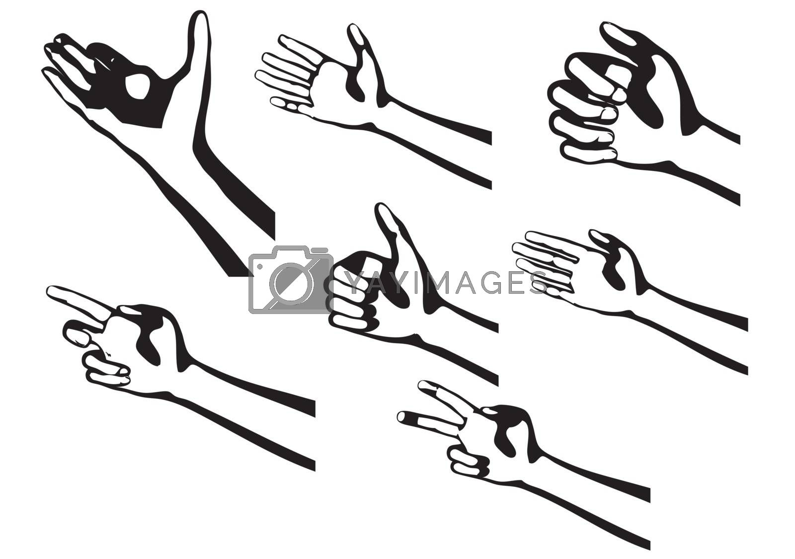 silhouette hands isolated on a white background