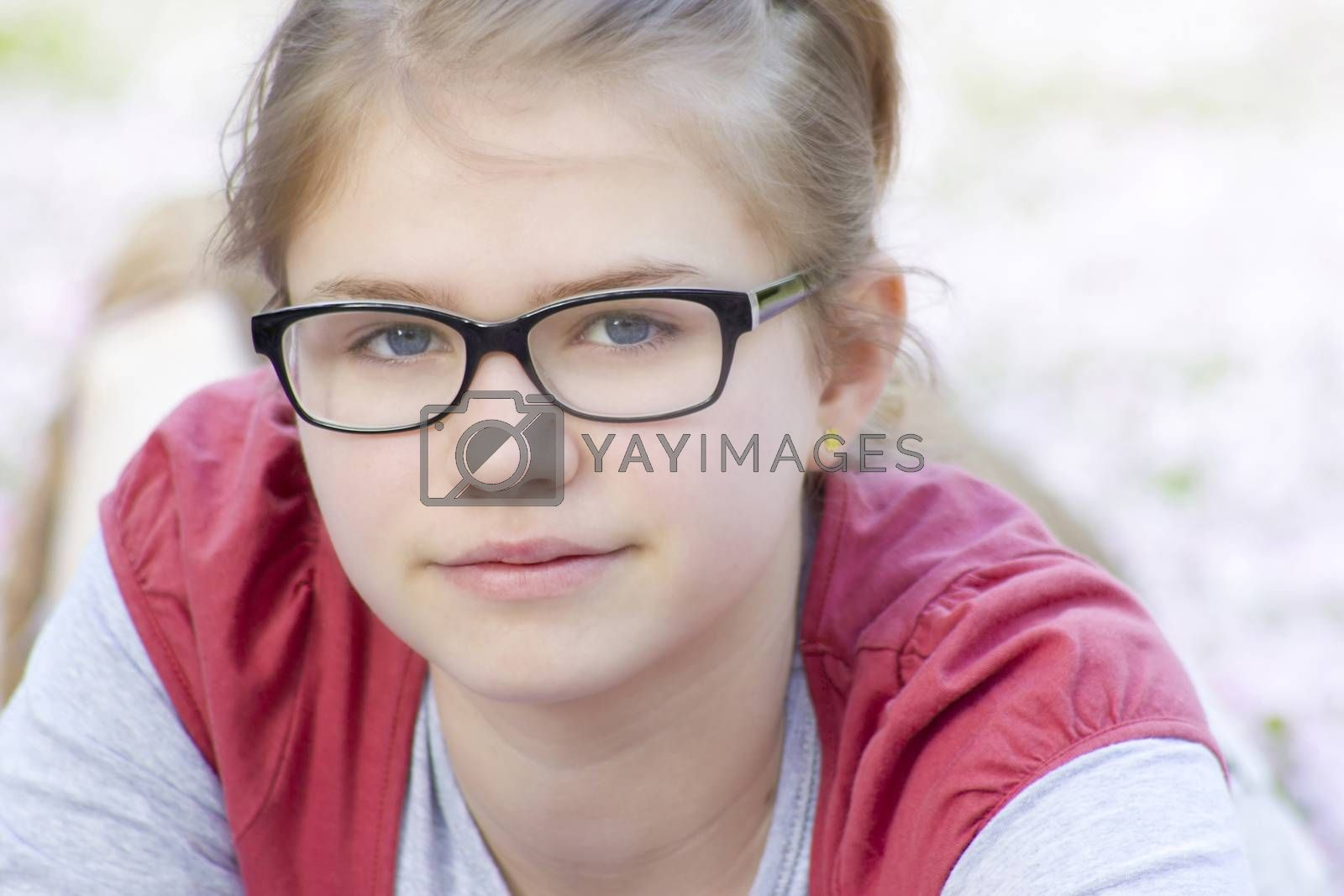 portrait of young girl with glasses