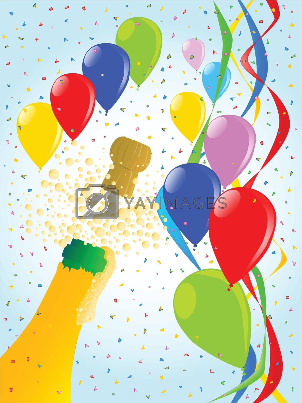 Multi coloured balloons, confetti and streamers, a party image.