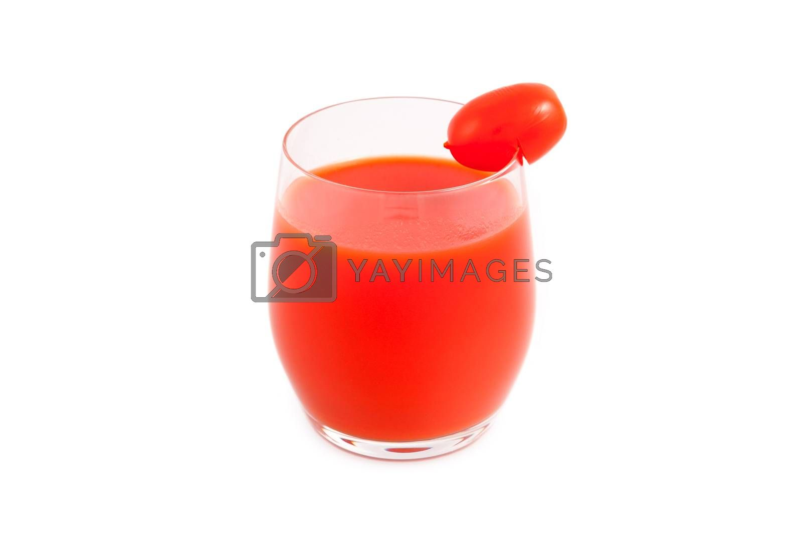 Glass of tomato juice and cherry tomatoes - isolated on white background