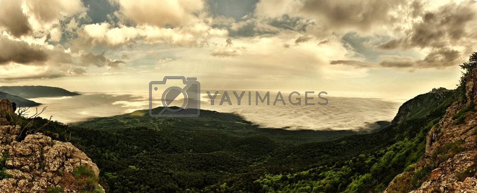 Panorama of Mountain Landscape from Crimea .